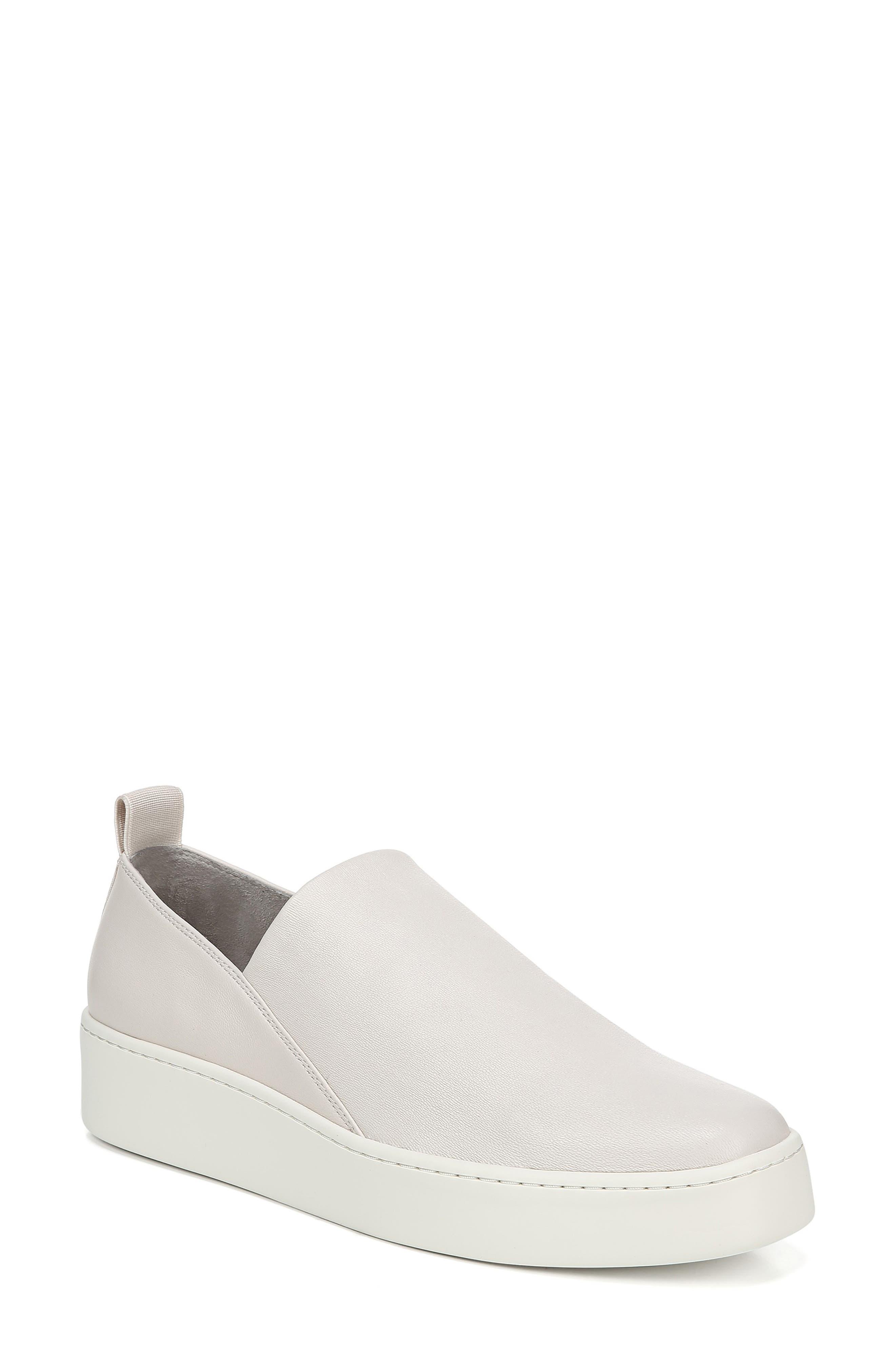 VINCE, Saxon Slip-On Sneaker, Main thumbnail 1, color, BONE THIN STRETCH NAPPA