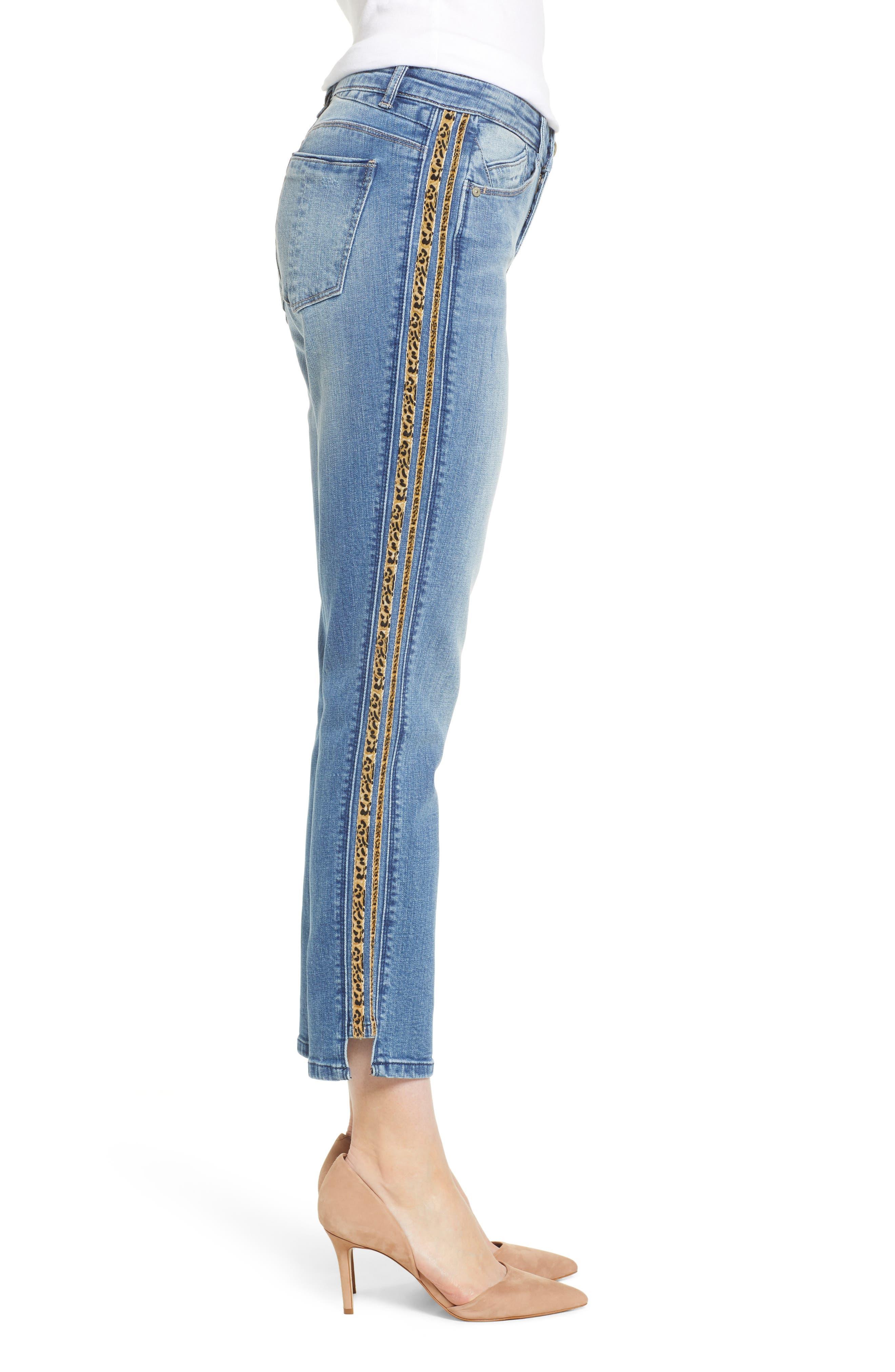WIT & WISDOM, Flex-ellent Leopard Stripe Slim Straight Leg Jeans, Alternate thumbnail 4, color, 420