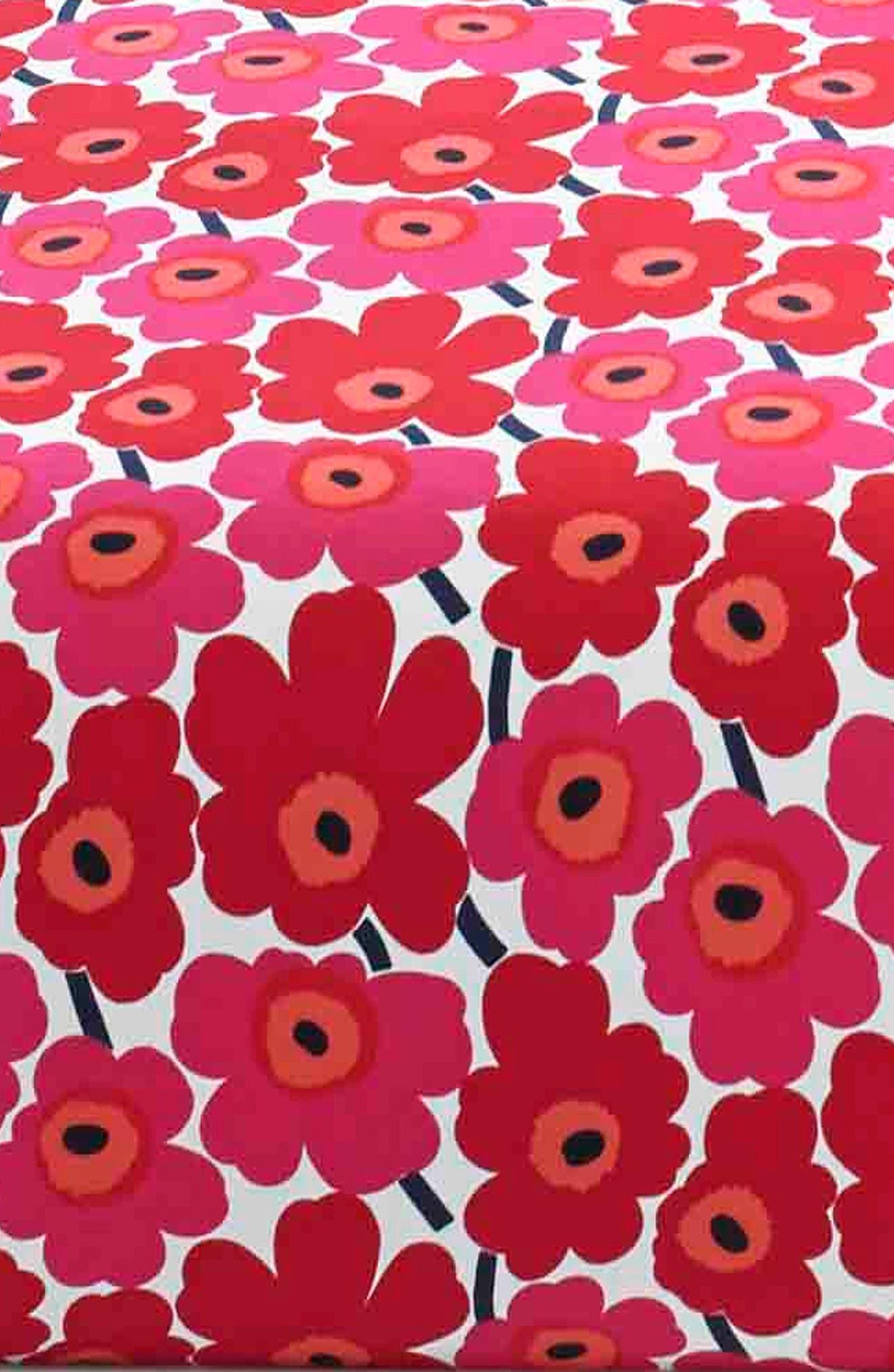 MARIMEKKO, Unikko 200 Thread Count Cotton Sheet Set, Alternate thumbnail 2, color, DARK RED