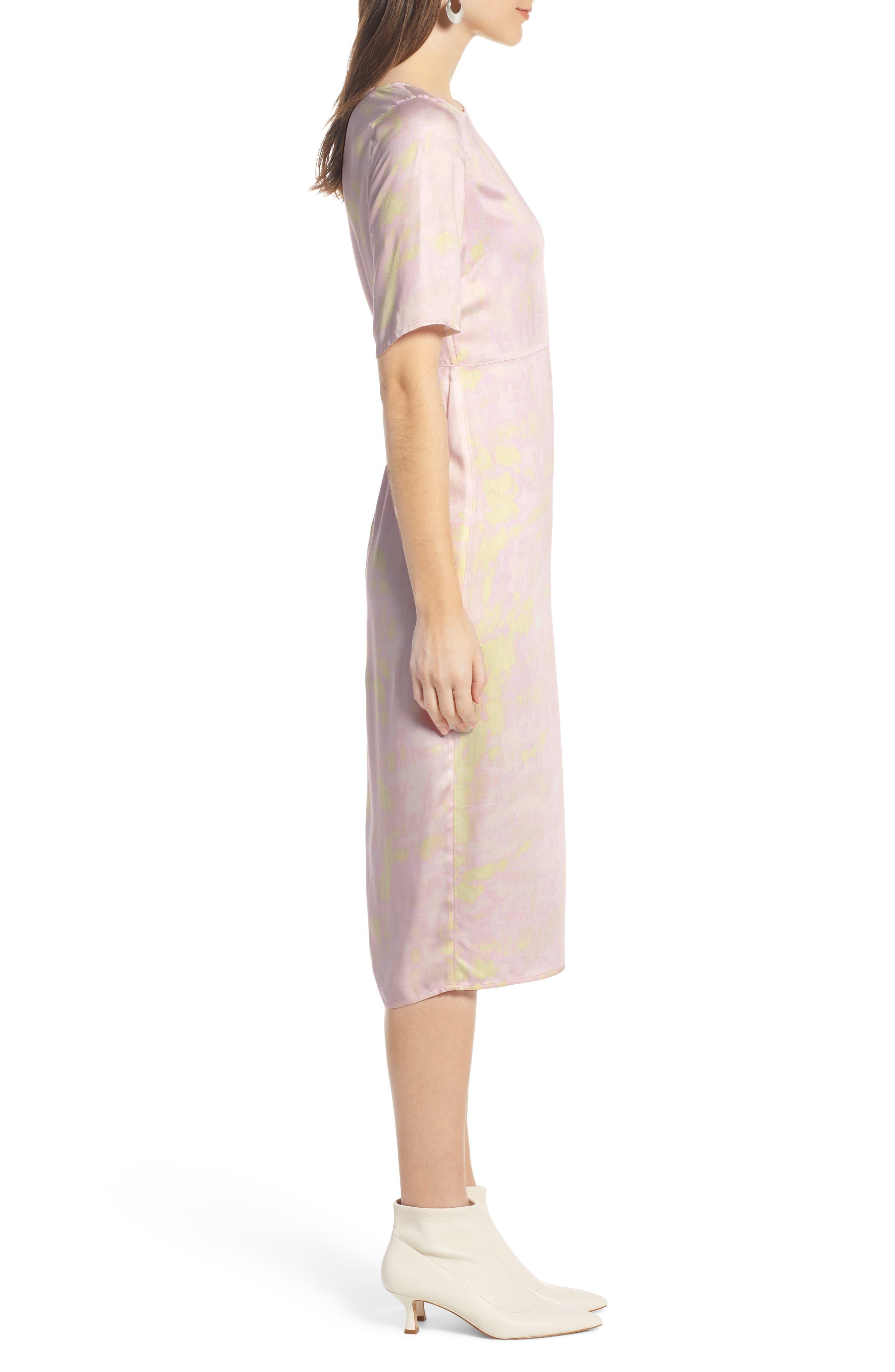 SOMETHING NAVY, Front Slit Midi Dress, Alternate thumbnail 5, color, 680