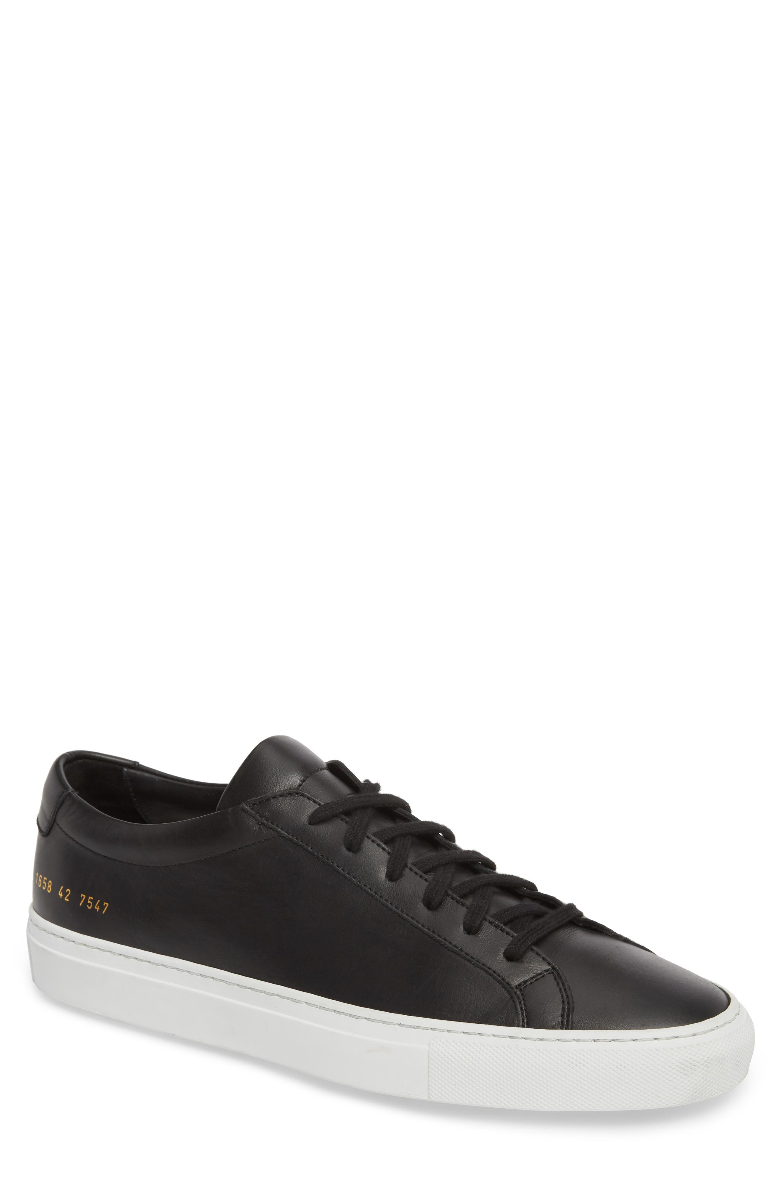 COMMON PROJECTS, Achilles Low Sneaker, Main thumbnail 1, color, BLACK LEATHER