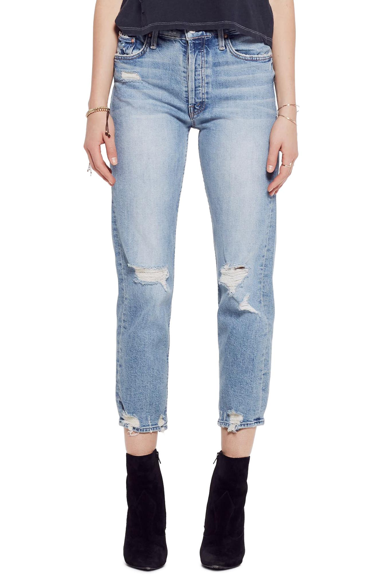 MOTHER, The Tomcat Ripped Crop Straight Leg Jeans, Main thumbnail 1, color, THE CONFESSION