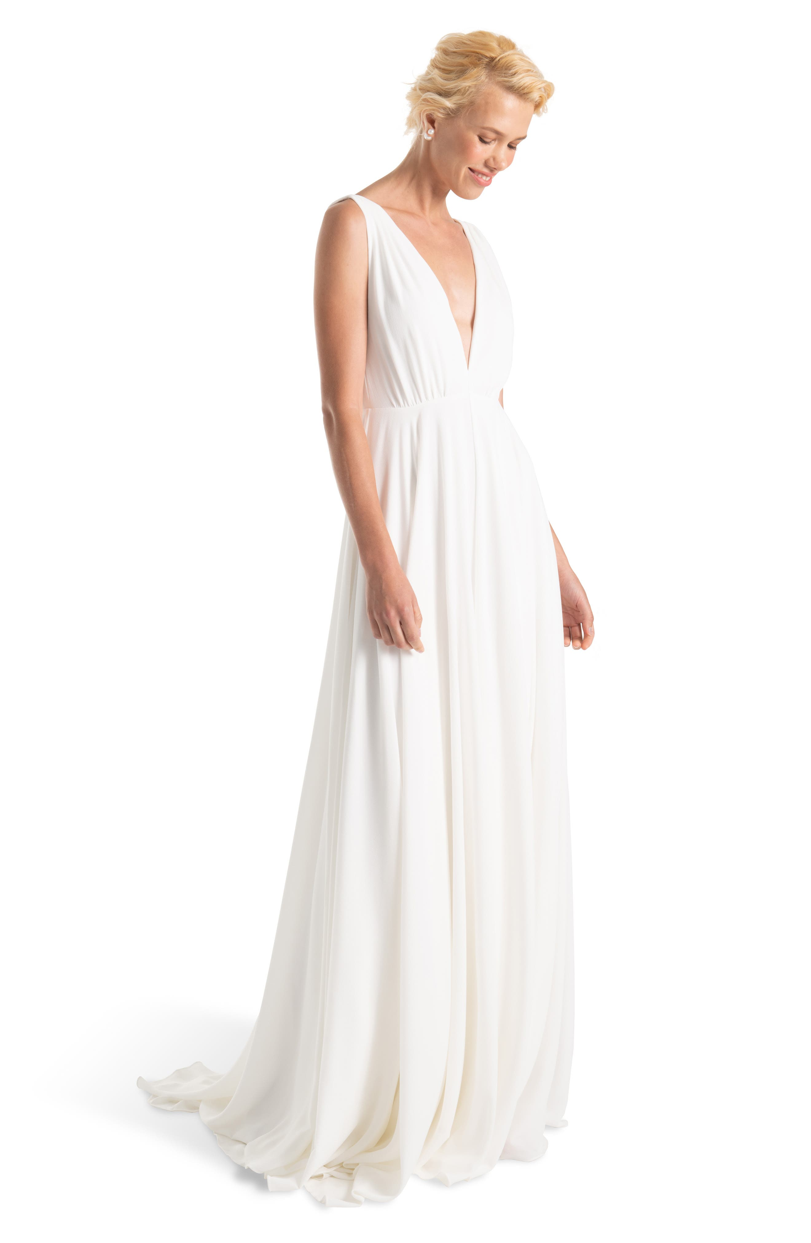 JOANNA AUGUST, Nico Plunging A-Line Gown, Main thumbnail 1, color, WHITE