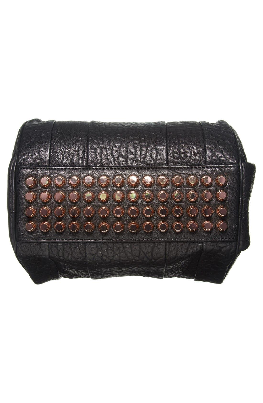 ALEXANDER WANG, 'Rockie - Rose Gold' Leather Crossbody Satchel, Alternate thumbnail 6, color, BLACK ROSE GLD HRDWRE