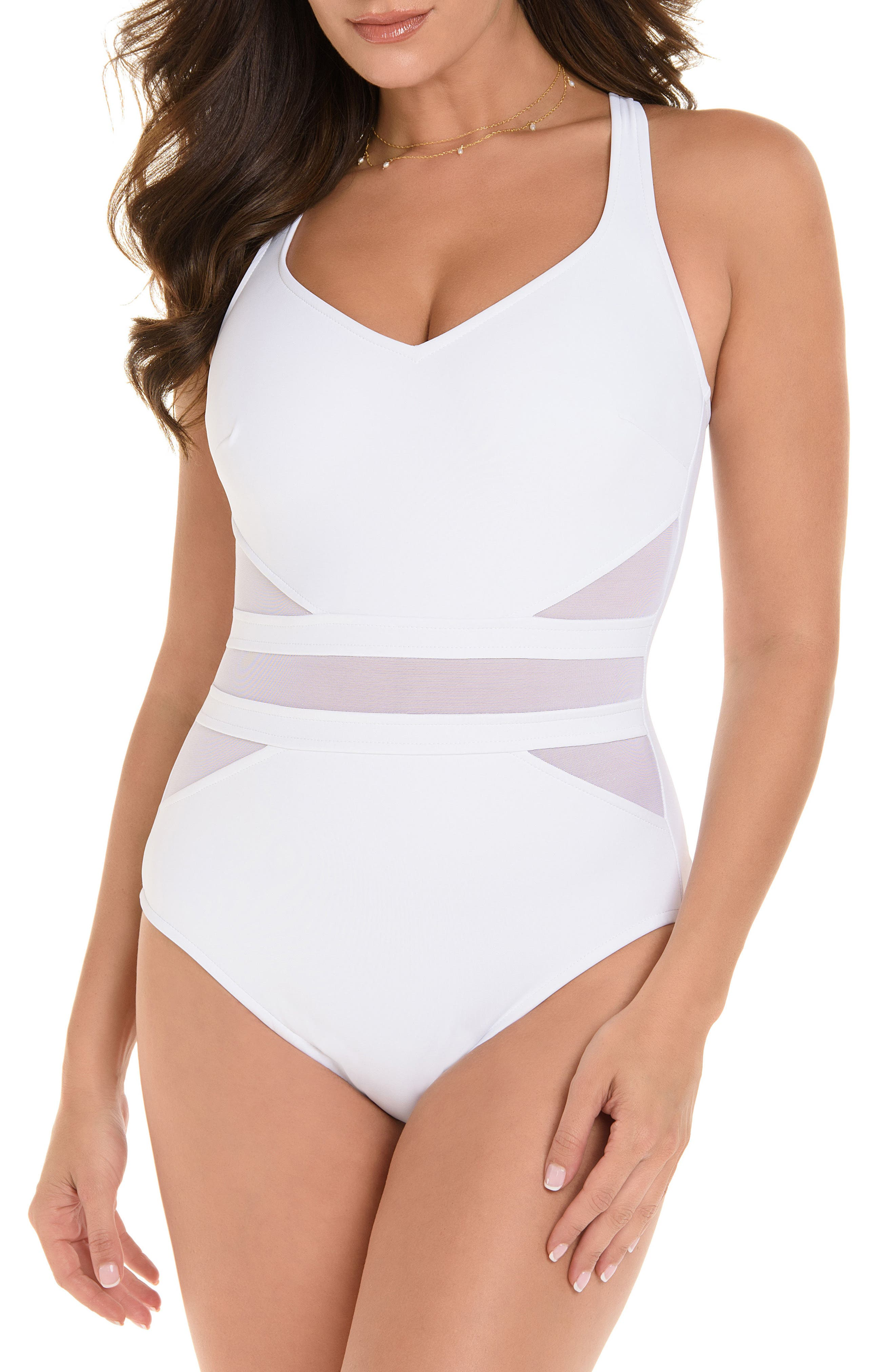 MIRACLESUIT<SUP>®</SUP>, Illusionist It's a Cinch One-Piece Swimsuit, Main thumbnail 1, color, 100