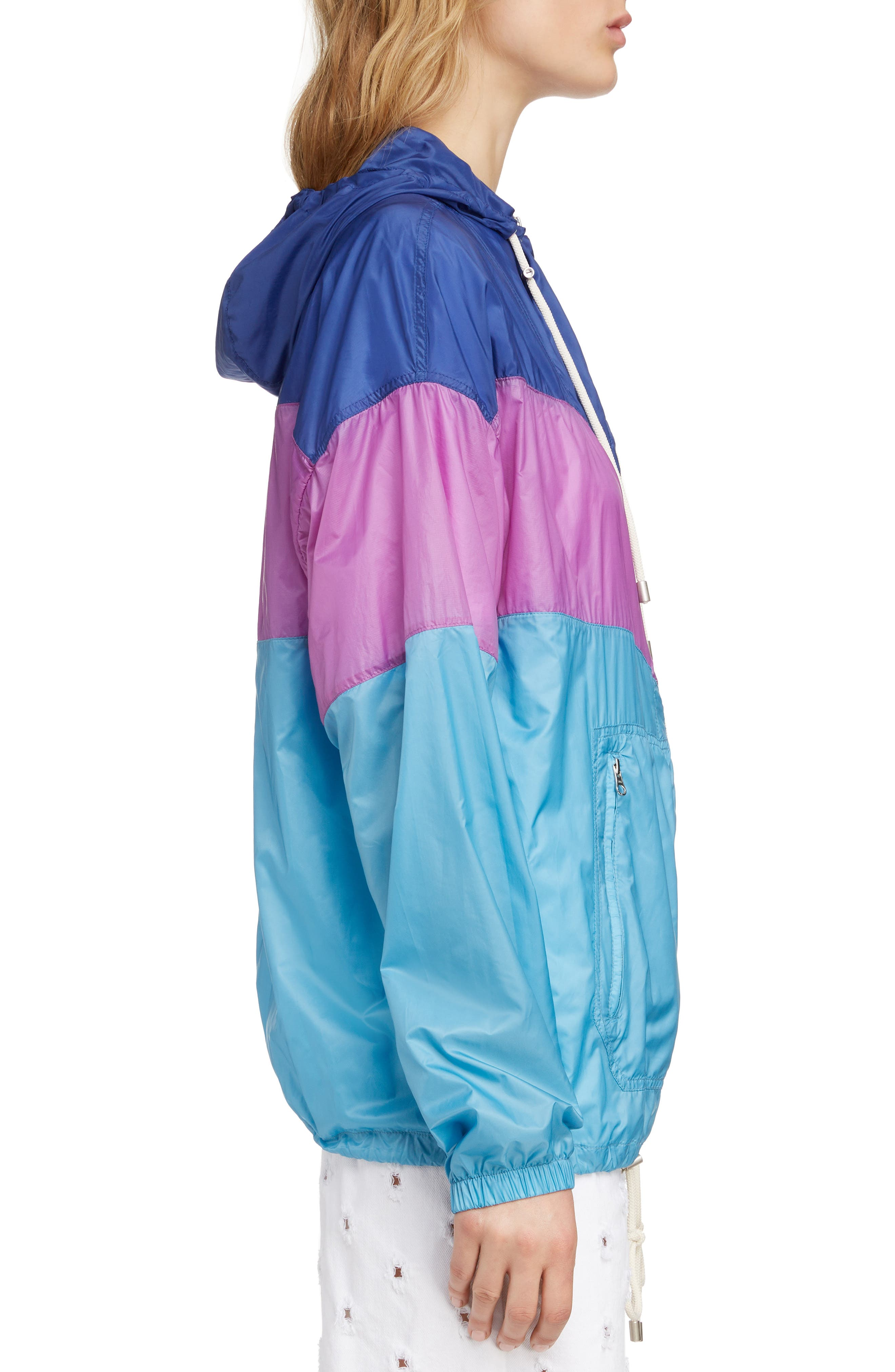 ISABEL MARANT ÉTOILE, Kyriel Colorblock Hooded Jacket, Alternate thumbnail 4, color, ELECTRIC BLUE/ VIOLET