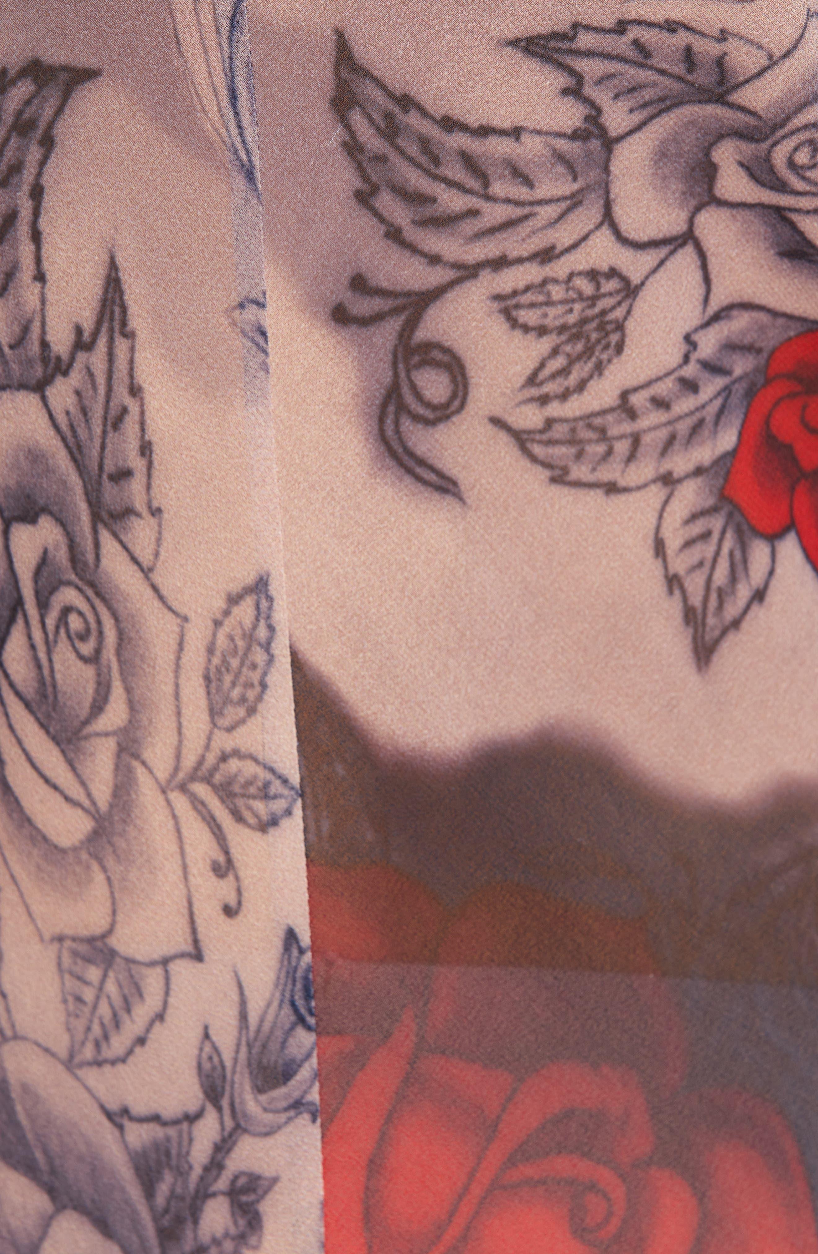 COMME DES GARÇONS, Cotton Blazer & Rose Tattoo Mesh Jumpsuit, Alternate thumbnail 6, color, BLACK X F PATTERN