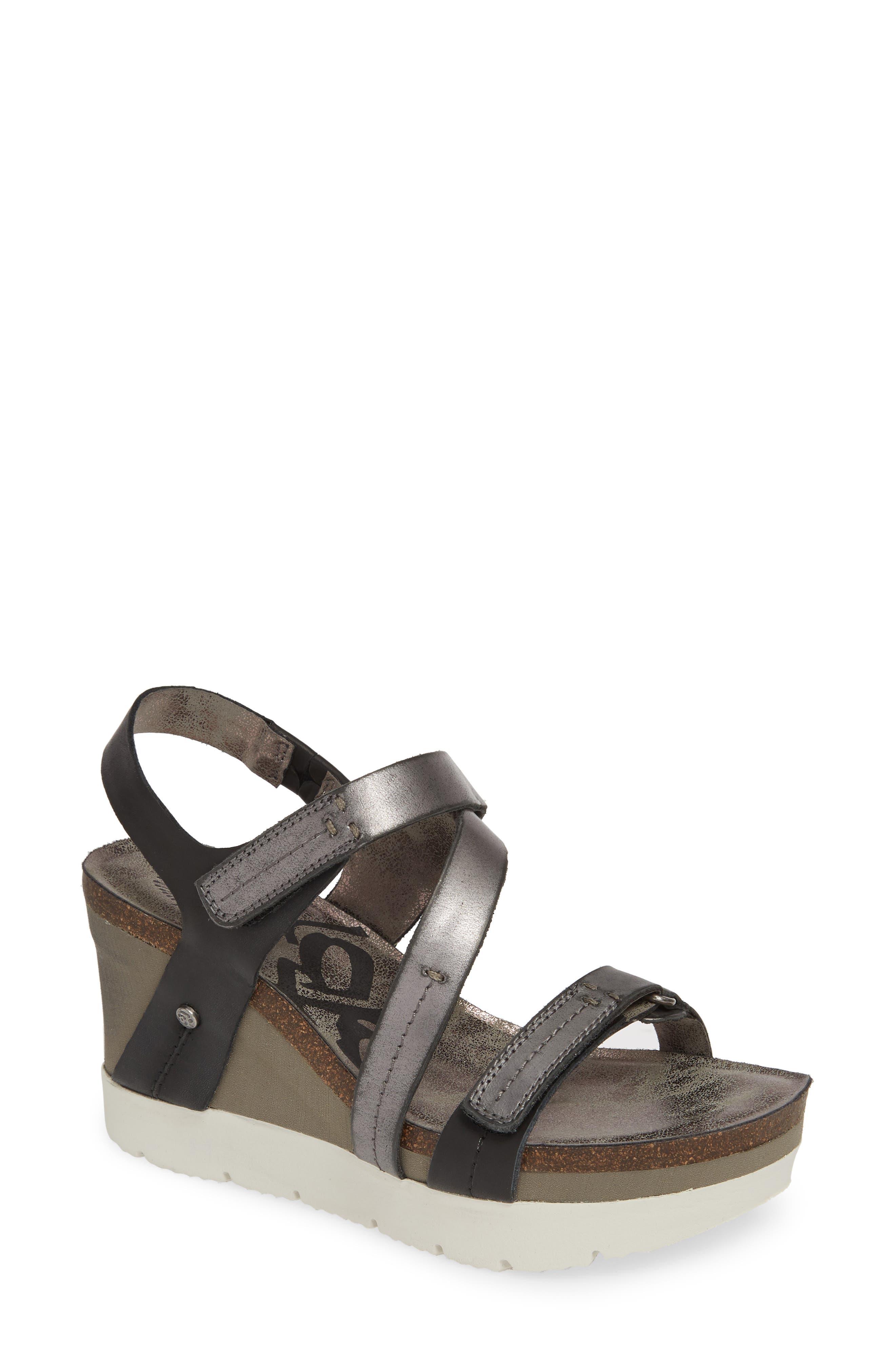 OTBT Wavey Wedge Sandal, Main, color, NEW BLACK LEATHER