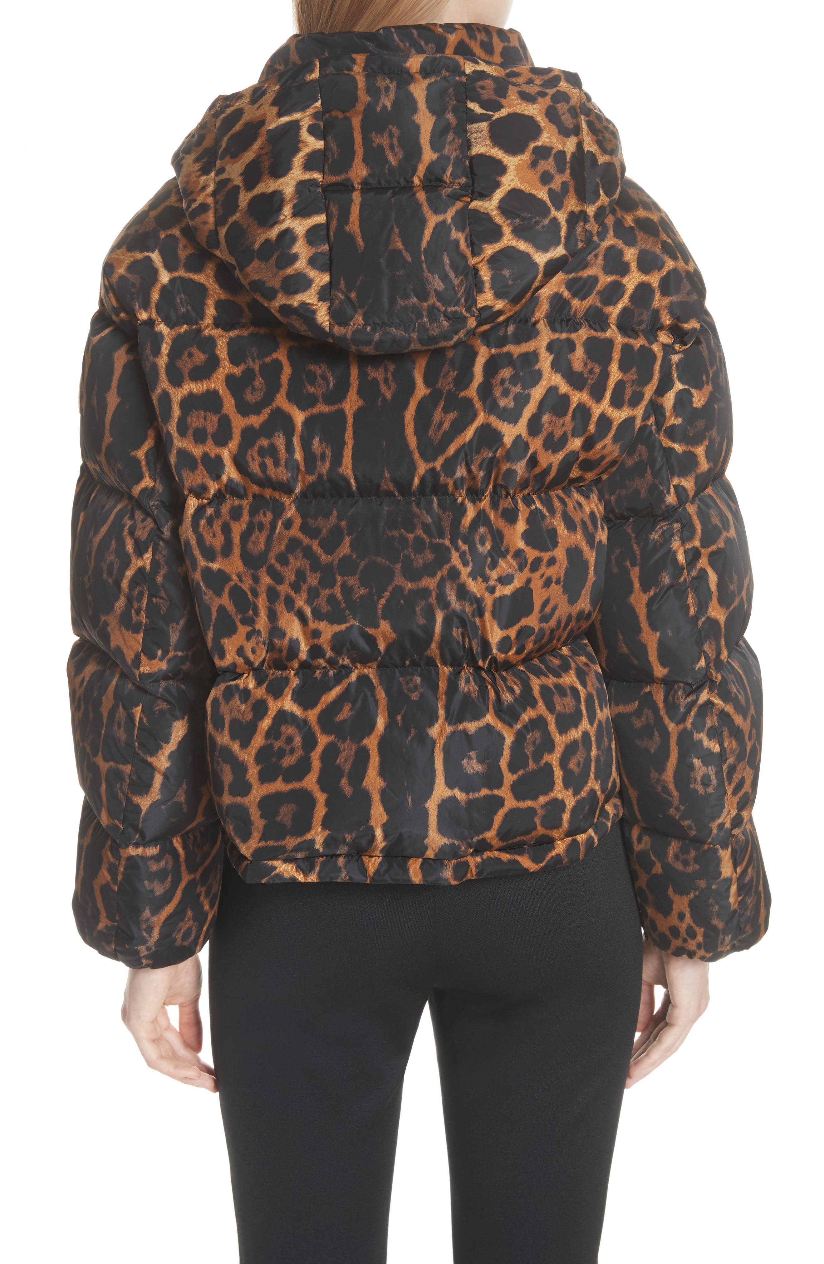 MONCLER, Caille Leopard Print Down Puffer Jacket, Alternate thumbnail 3, color, 240