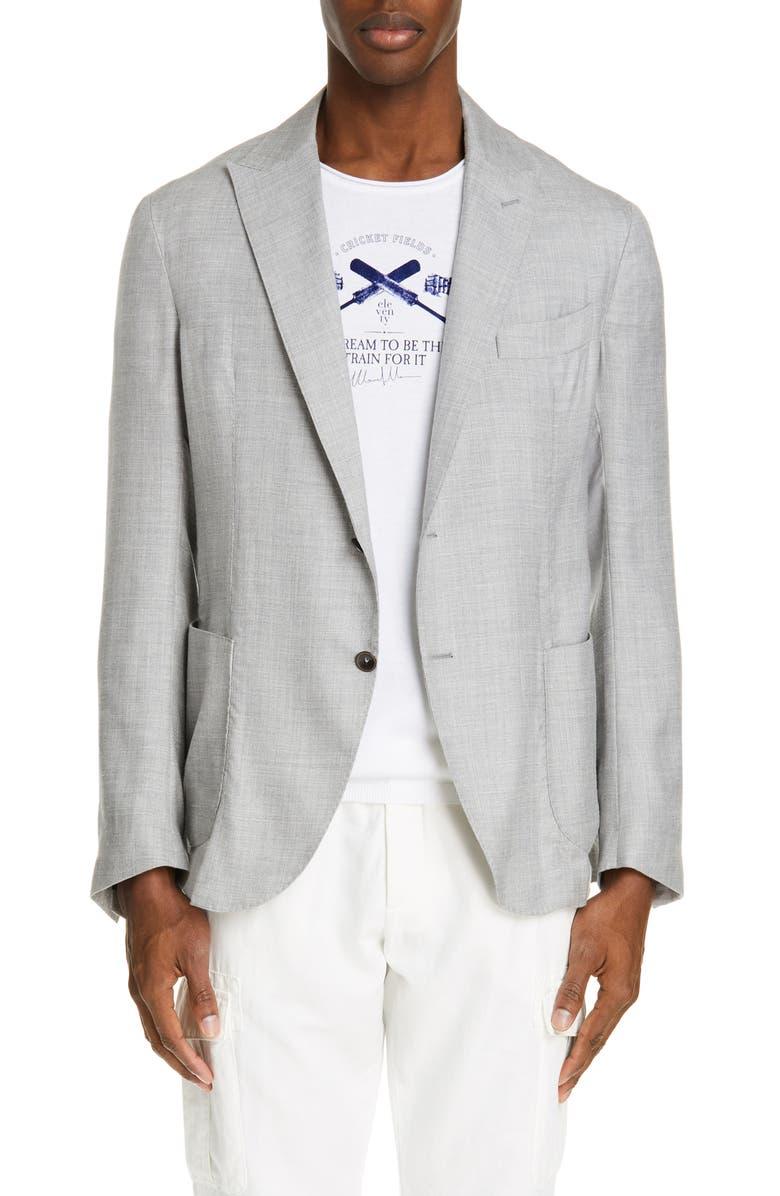 8c90a712212 ELEVENTY Trim Fit Solid Cashmere Blend Sport Coat, Main, color, PEARL GREY
