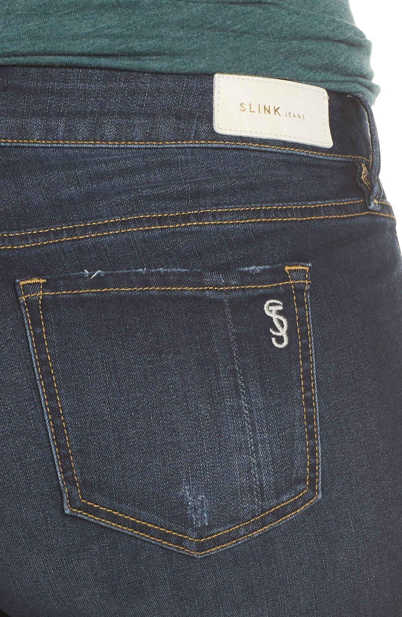 SLINK JEANS, Stretch Ankle Boyfriend Jeans, Alternate thumbnail 5, color, BELLA