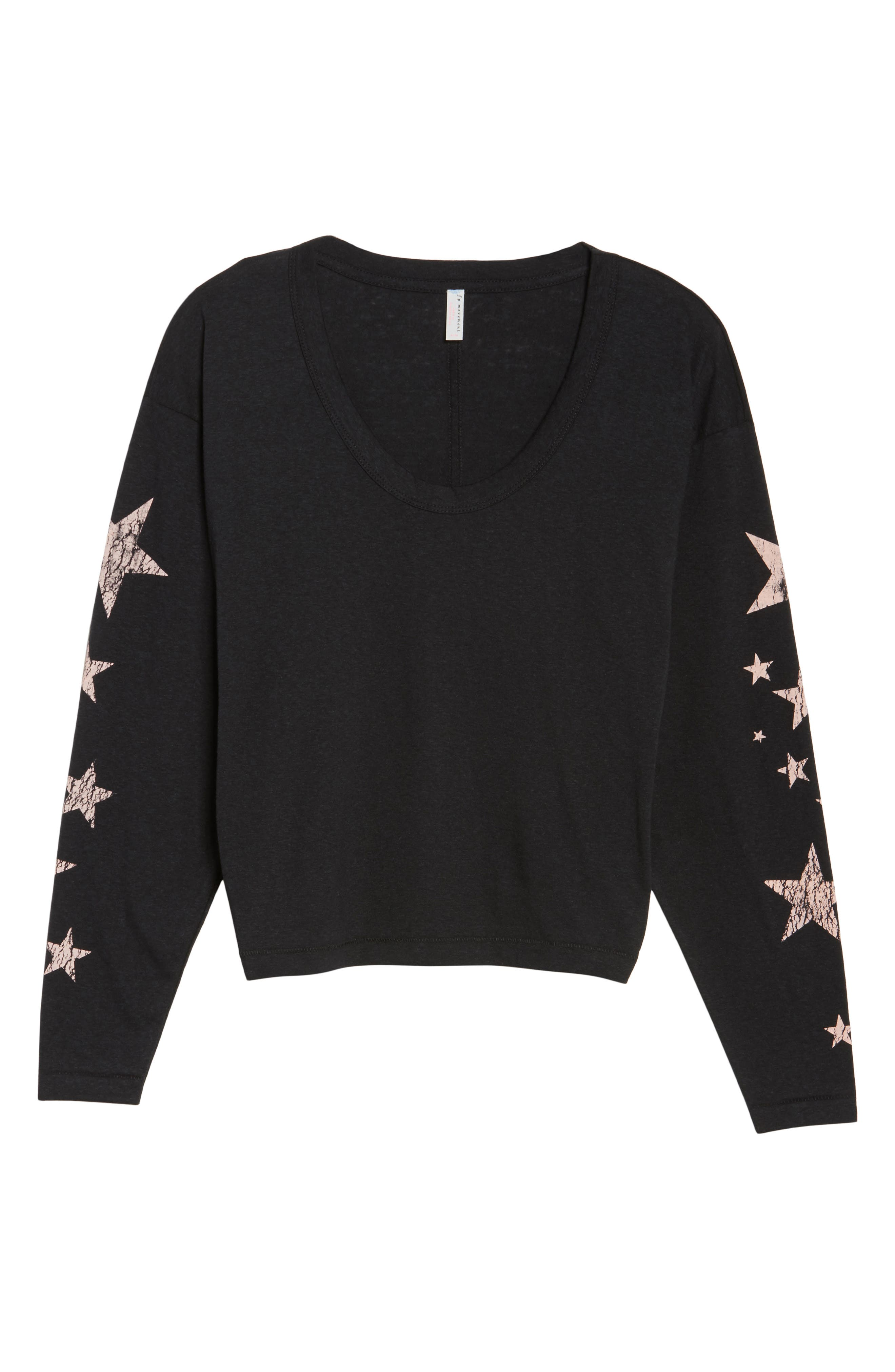 FREE PEOPLE MOVEMENT, Melrose Star Graphic Top, Alternate thumbnail 6, color, 001