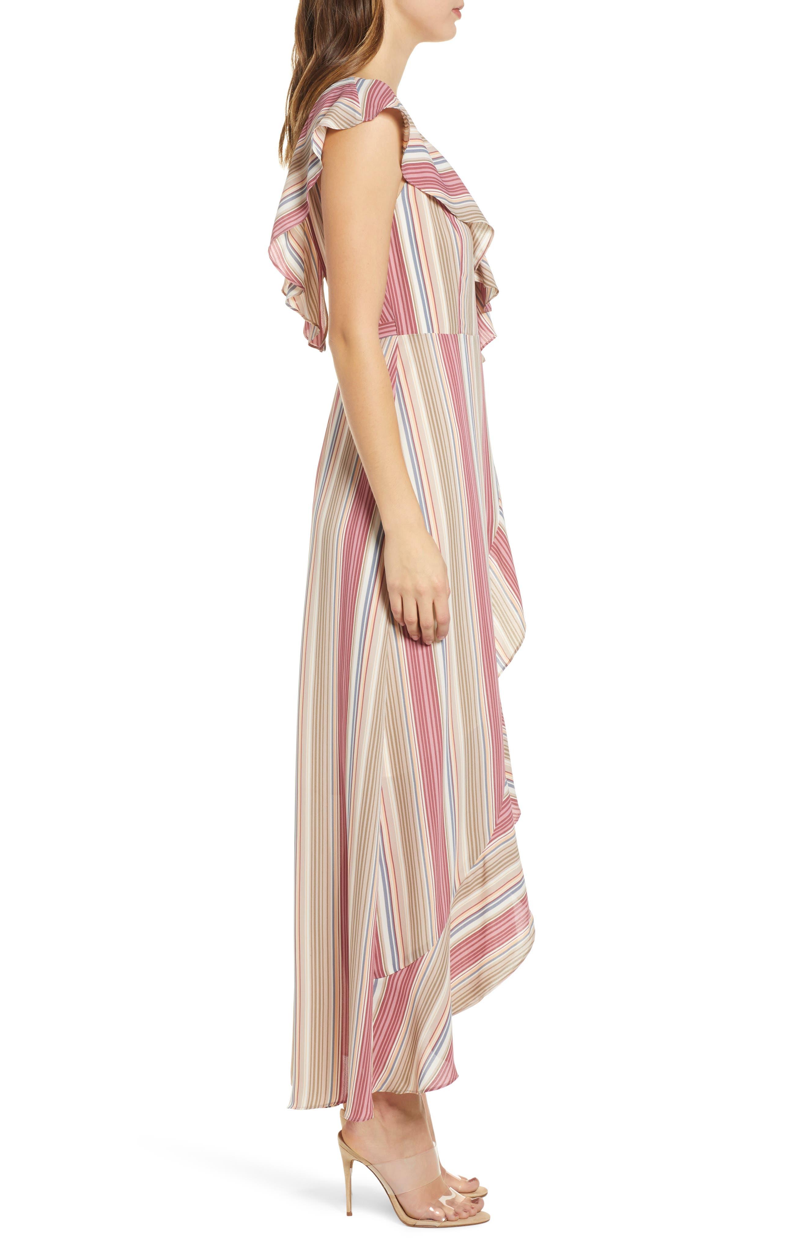 LEITH, Ruffle Wrap Maxi Dress, Alternate thumbnail 4, color, PINK CANYON TONAL STRIPE