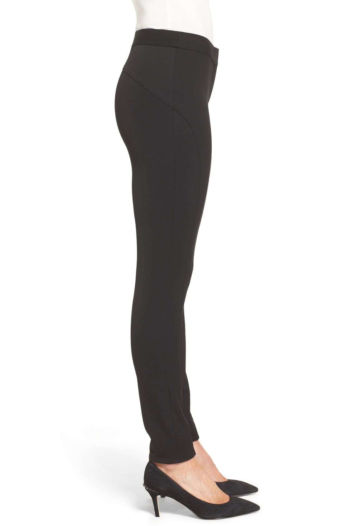 VINCE CAMUTO, Stretch Twill Skinny Pants, Alternate thumbnail 7, color, RICH BLACK