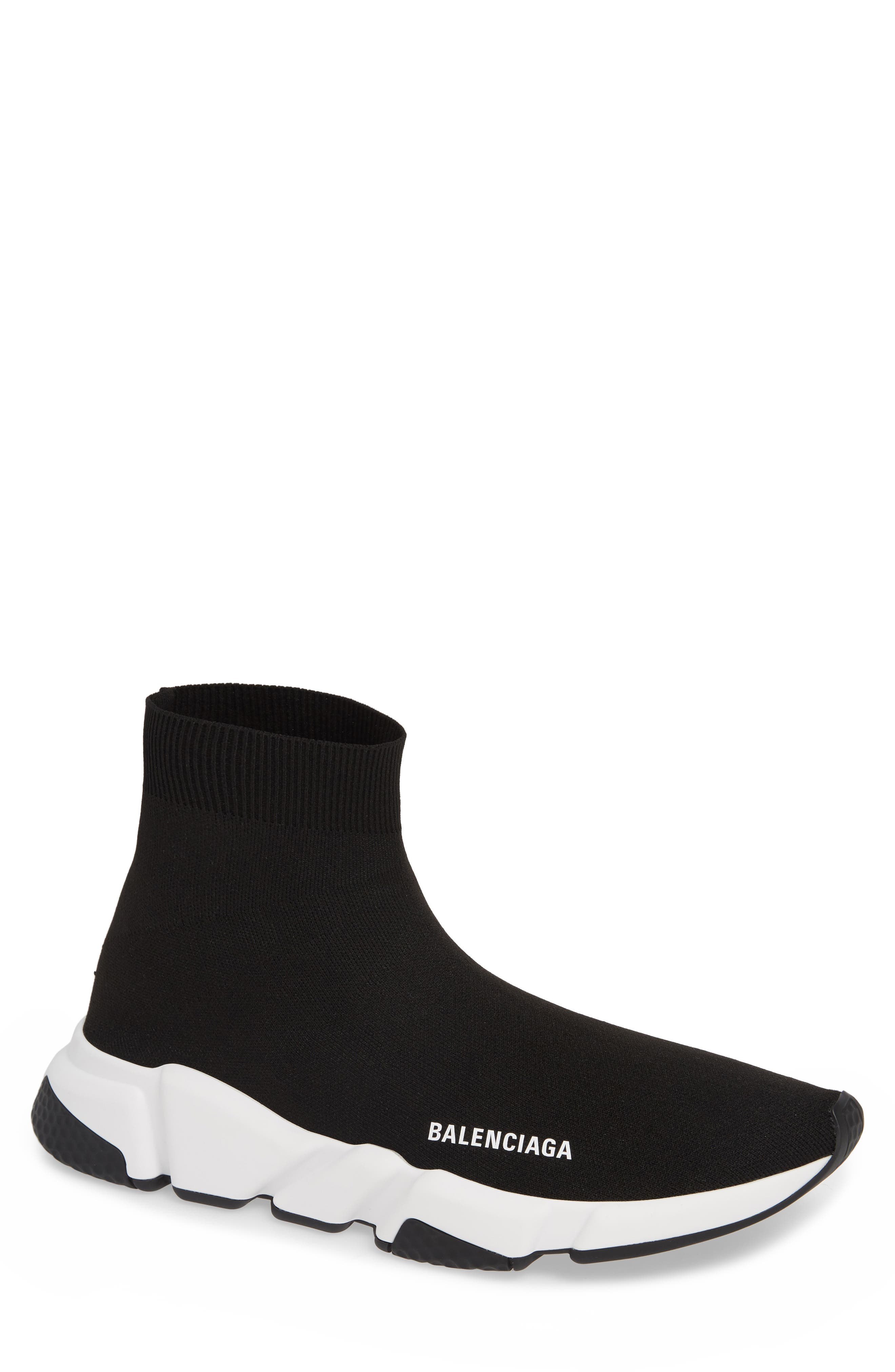 BALENCIAGA, Speed High Slip-On, Main thumbnail 1, color, NOIR