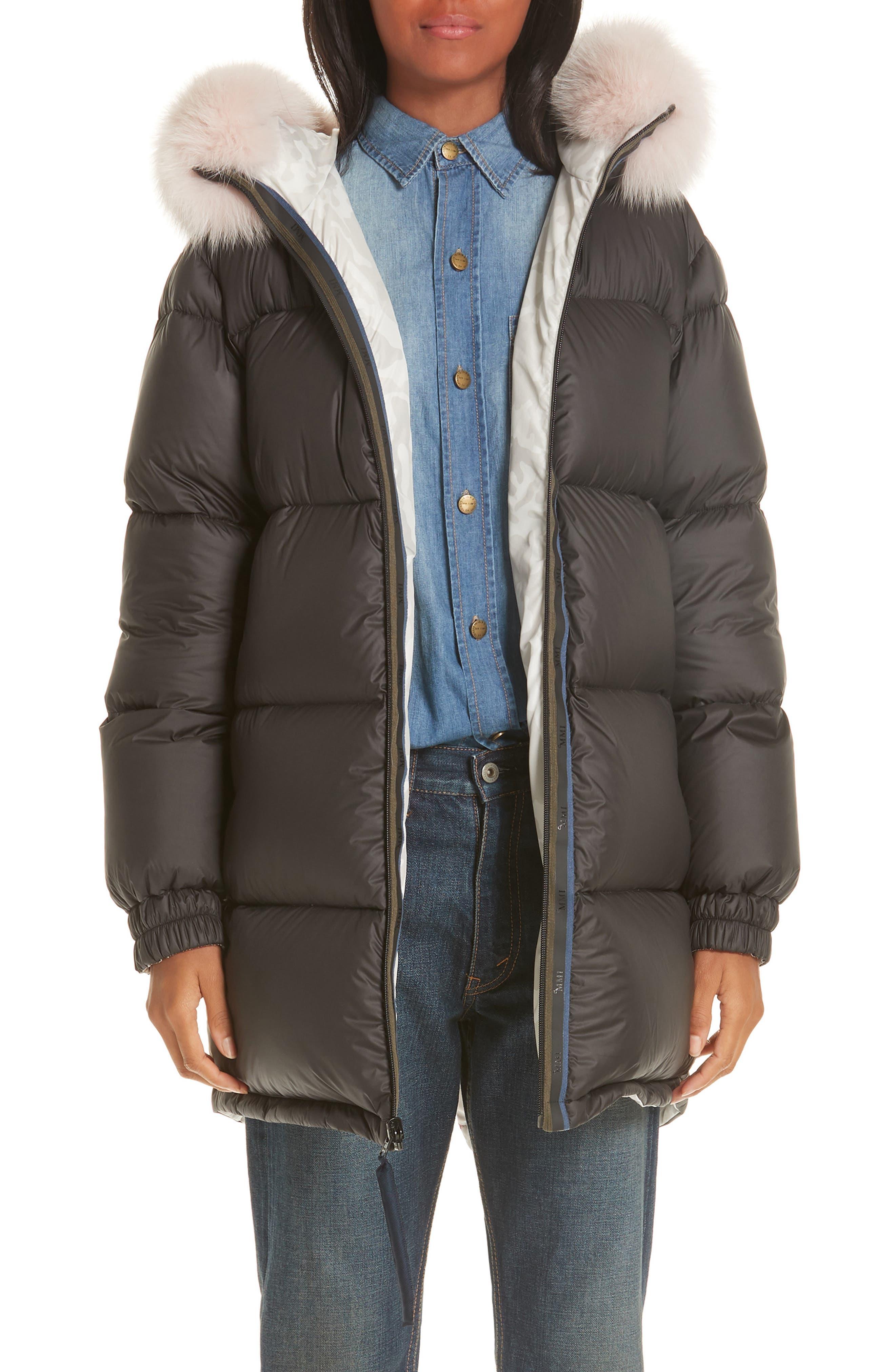 Mr & Mrs Italy Genuine Fox Fur Trim Down Fill Puffer Coat, Black