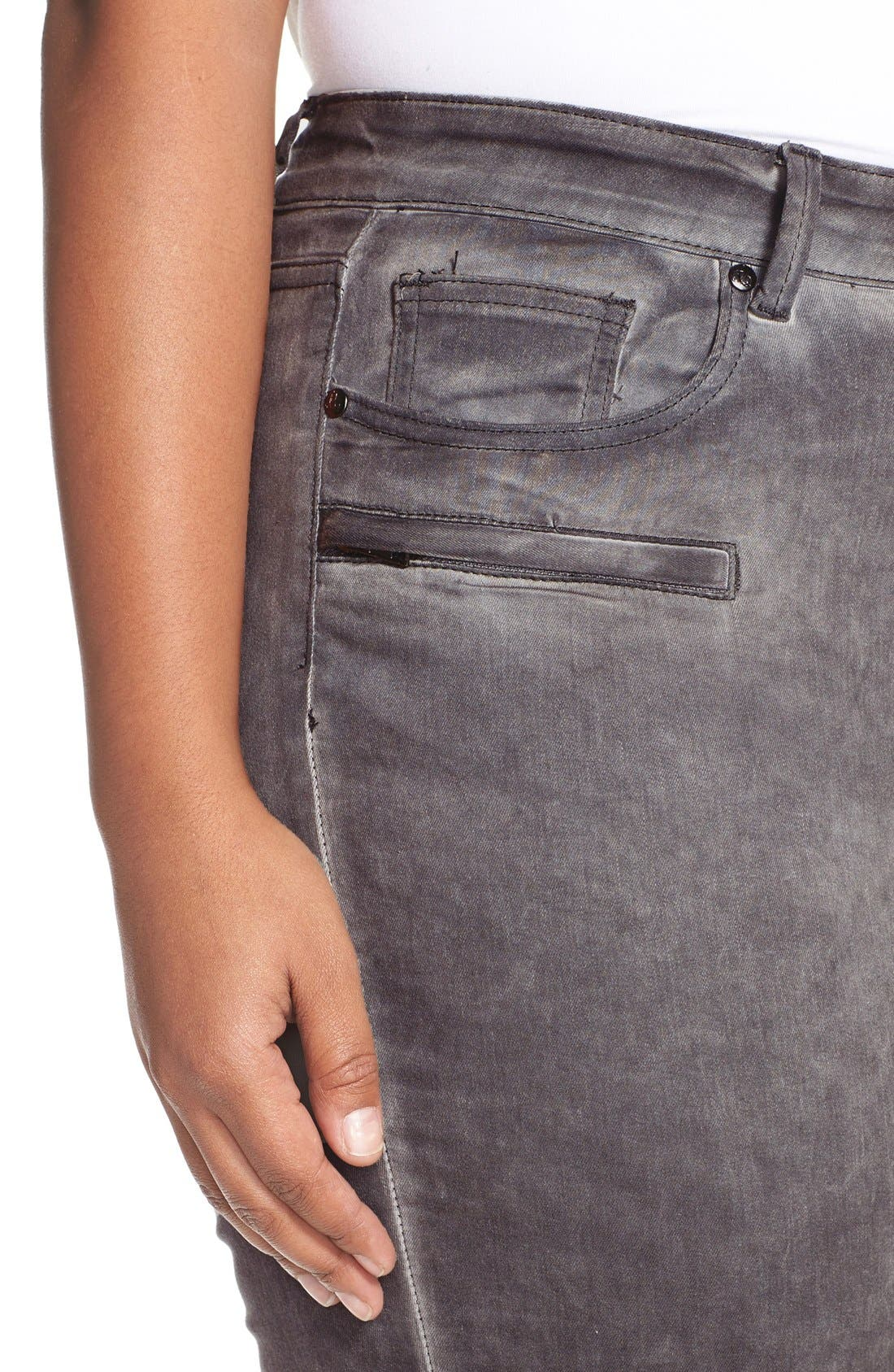 CITY CHIC, 'Silver' Stretch Skinny Jeans, Alternate thumbnail 5, color, 021