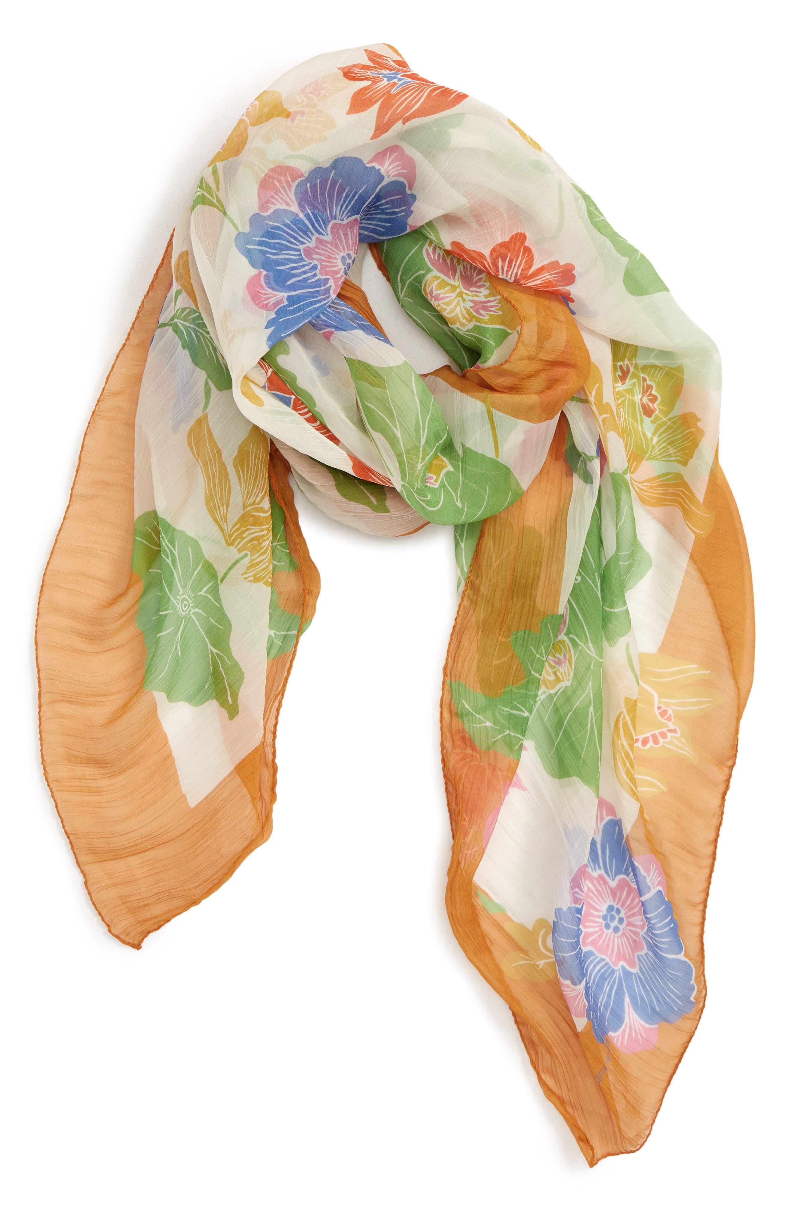 ETRO, Bombay Lily Print Square Silk Scarf, Alternate thumbnail 2, color, WHITE MULTI