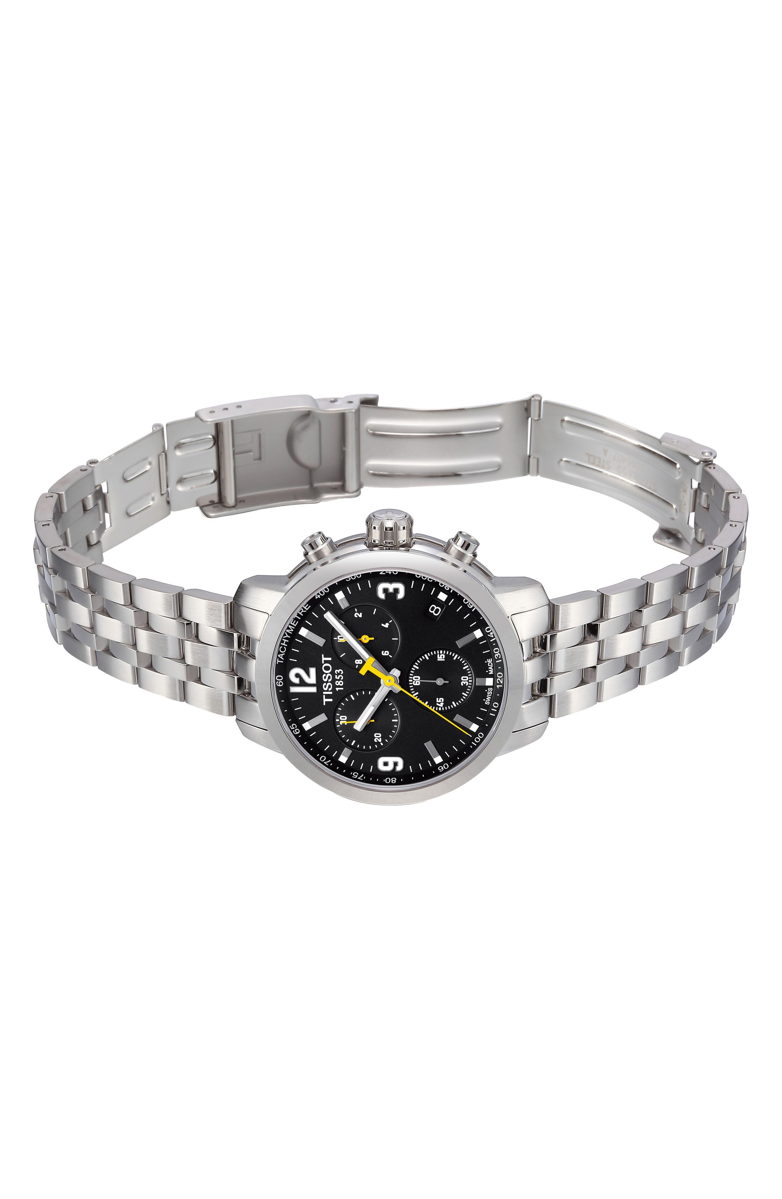 TISSOT, PRC200 Chronograph Bracelet Watch, 42mm, Alternate thumbnail 5, color, SILVER/ BLACK/ SILVER