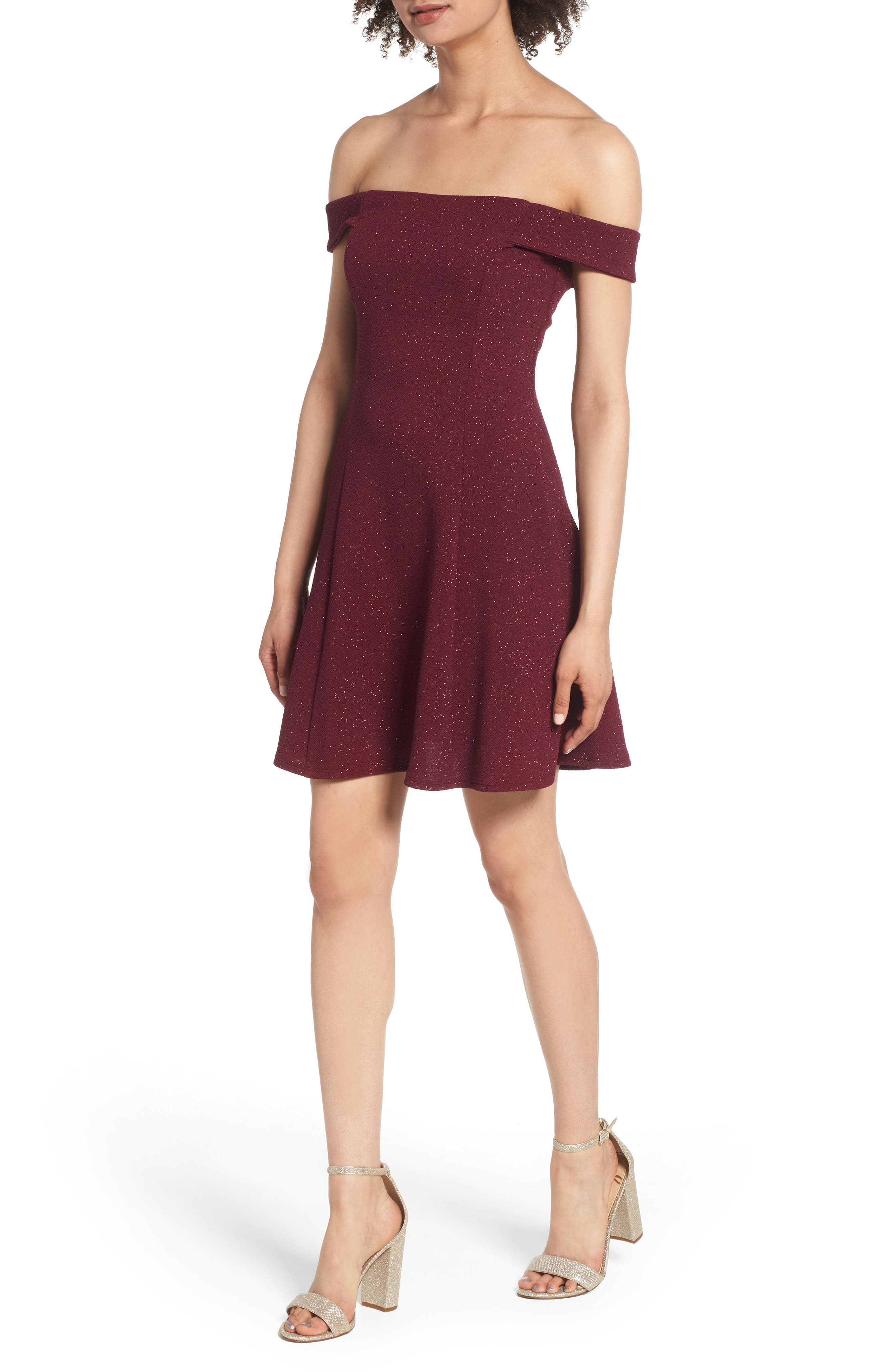 SPEECHLESS Glitter Off the Shoulder Dress, Main, color, BURGUNDY