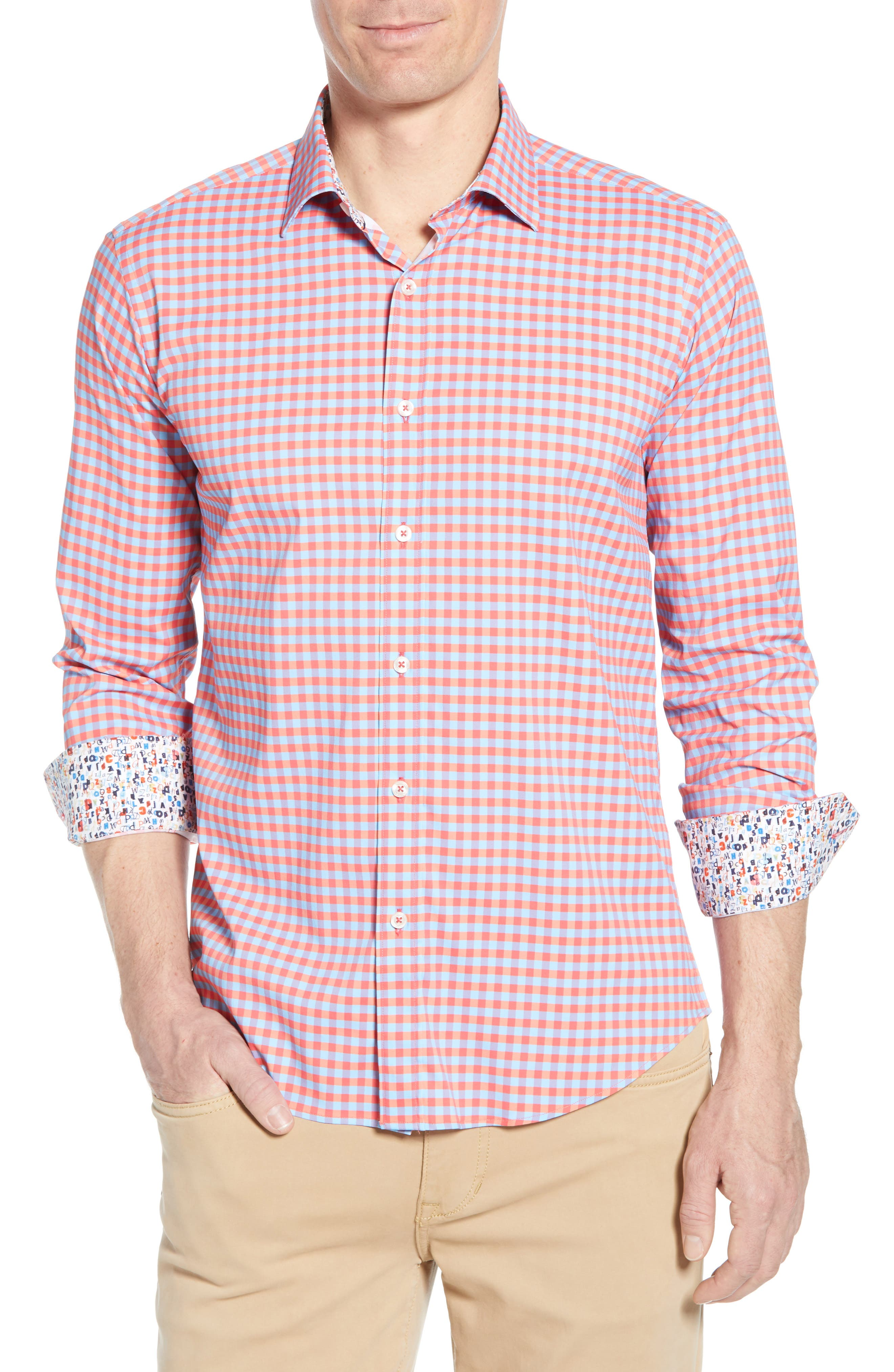BUGATCHI Shaped Fit Print Performance Sport Shirt, Main, color, RUBY
