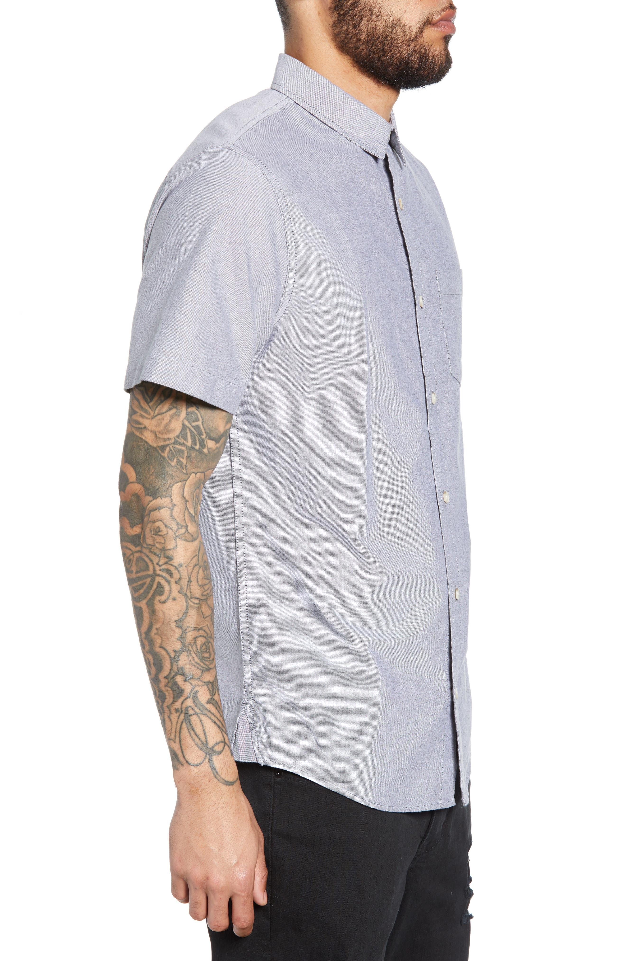 THE RAIL, Oxford Cloth Woven Shirt, Alternate thumbnail 4, color, BLACK ROCK-WHITE