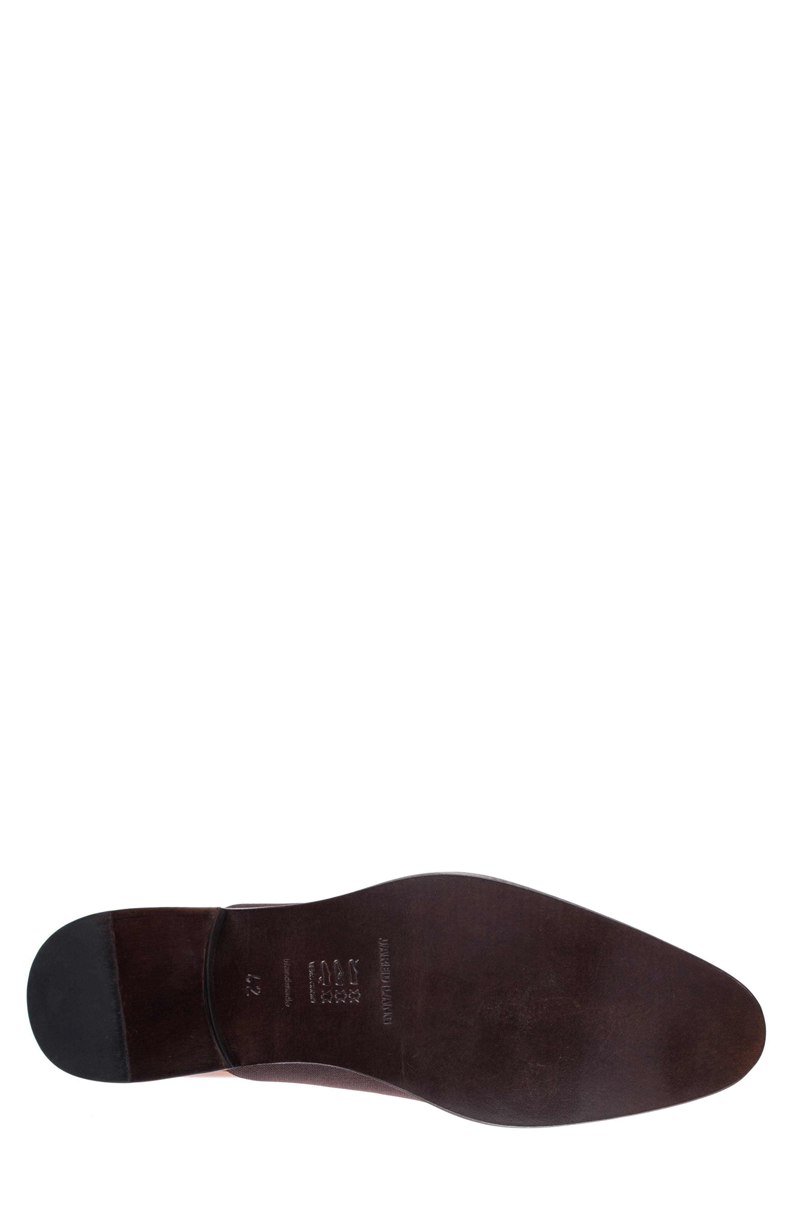 JARED LANG, Vincenzo Whole Cut Slip-On, Alternate thumbnail 6, color, BROWN LEATHER