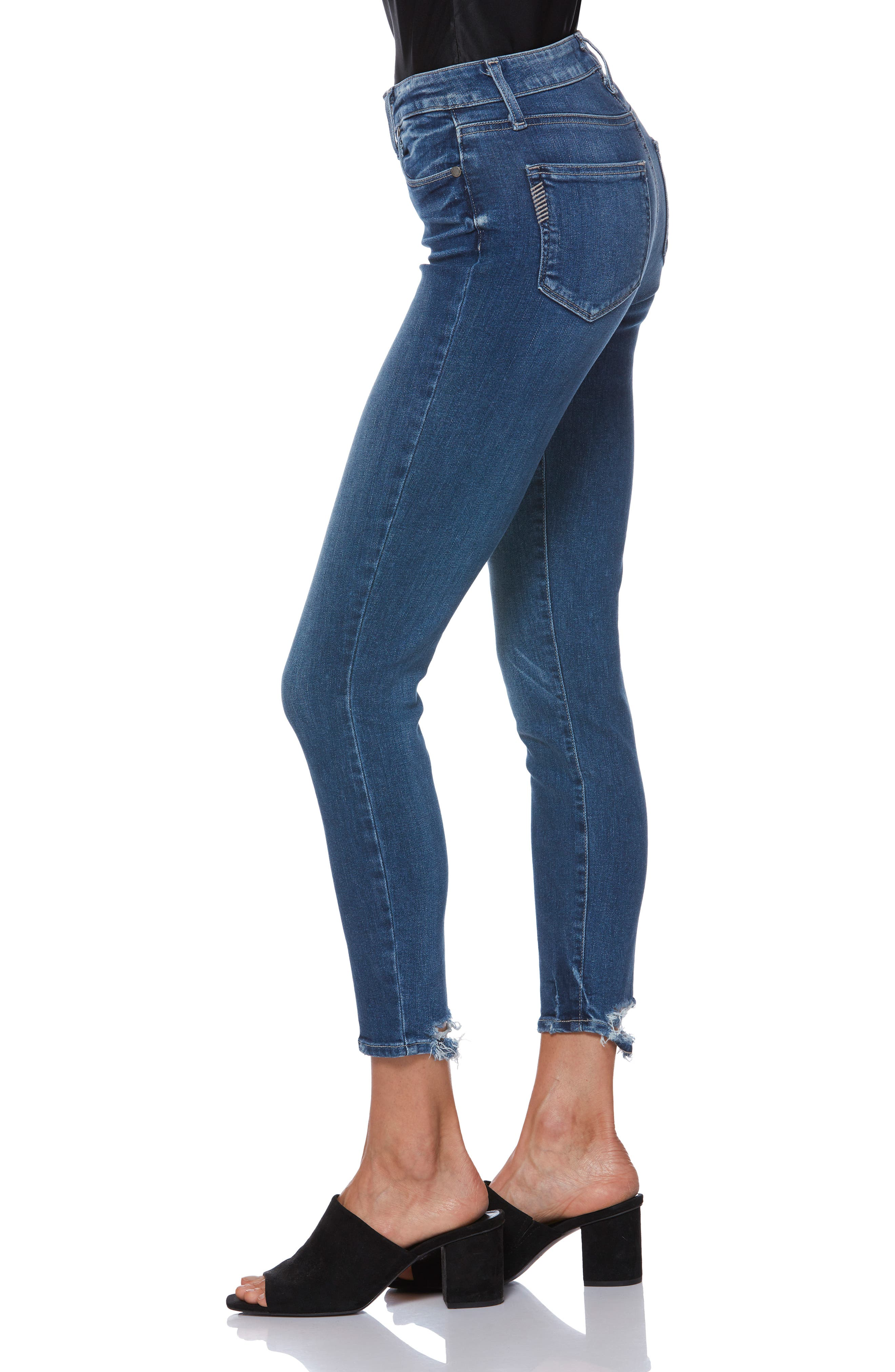 PAIGE, Hoxton Transcend Vintage High Waist Crop Skinny Jeans, Alternate thumbnail 3, color, 400