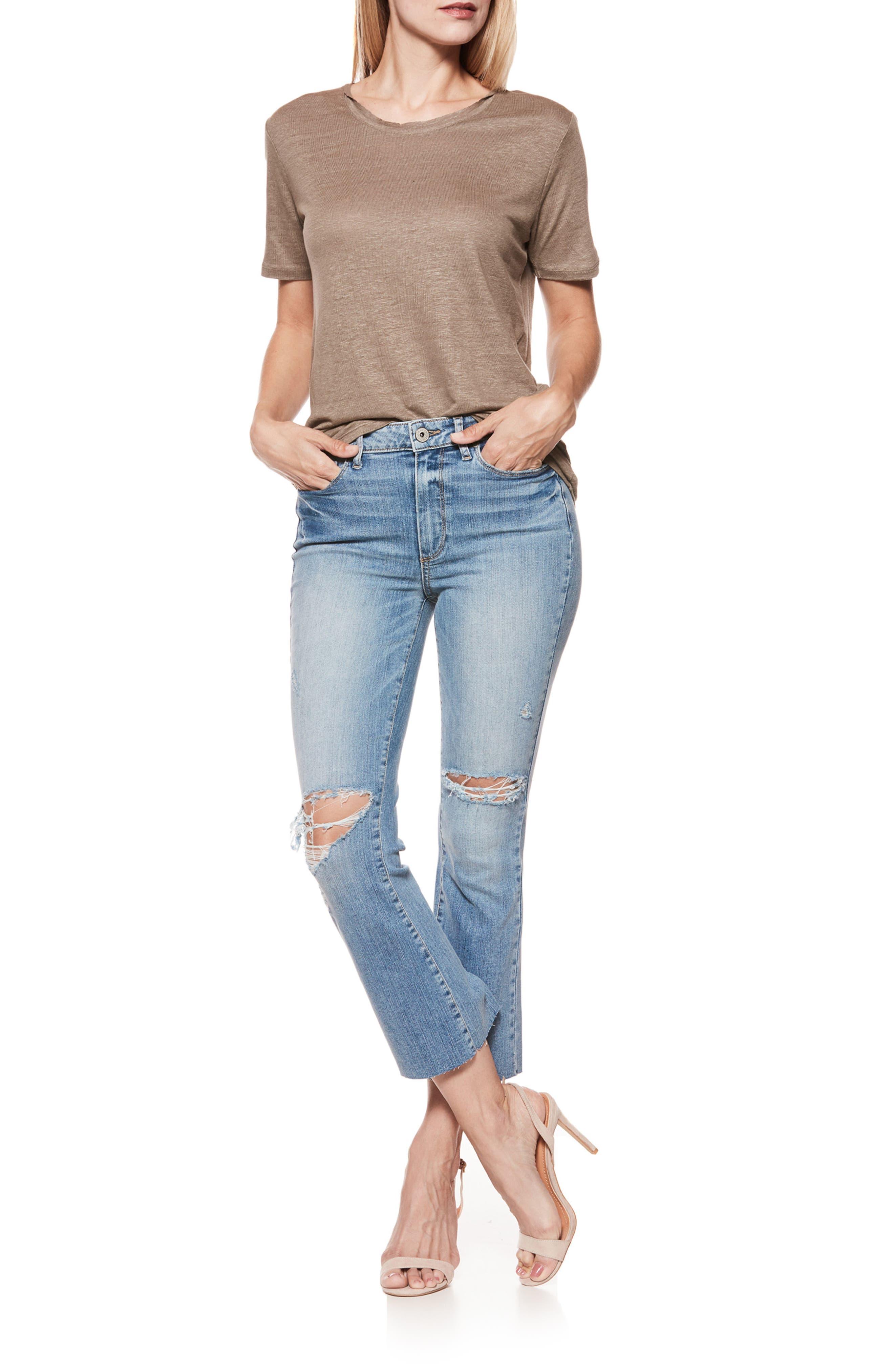 PAIGE, Colette High Waist Crop Flare Jeans, Alternate thumbnail 3, color, 400