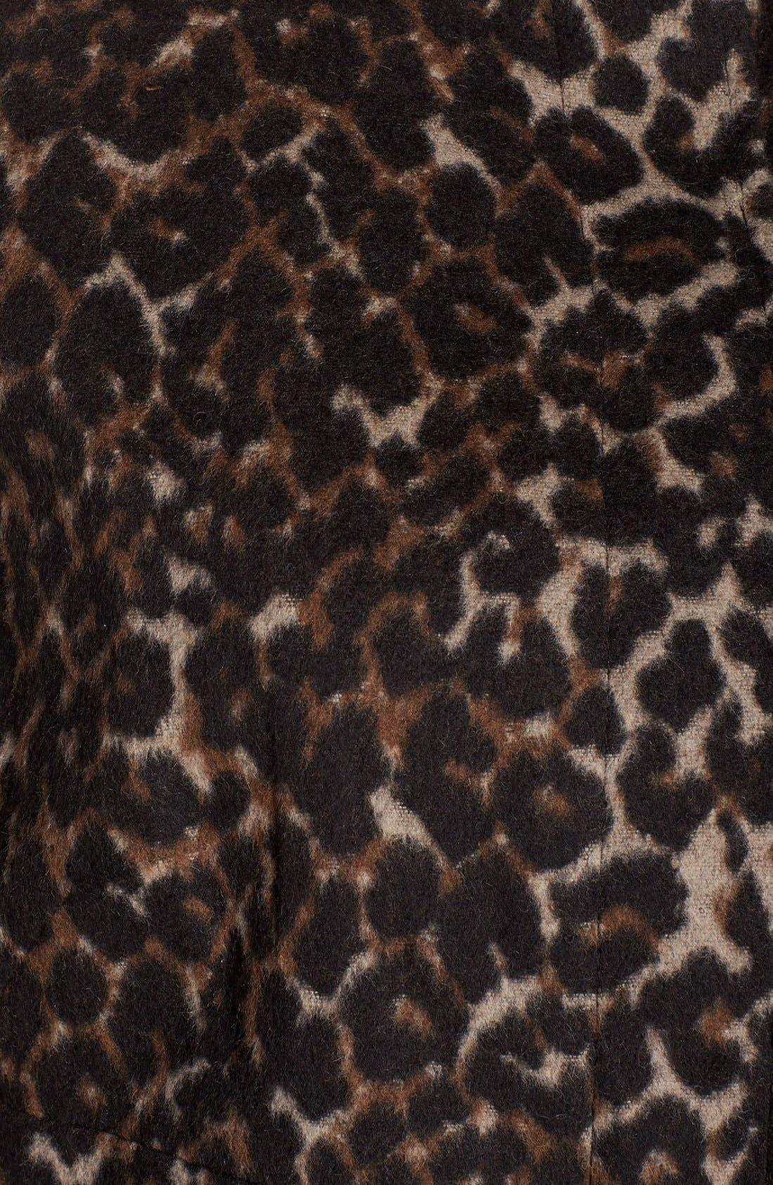 VIA SPIGA, Leopard Print Stand Collar Coat, Alternate thumbnail 5, color, 250