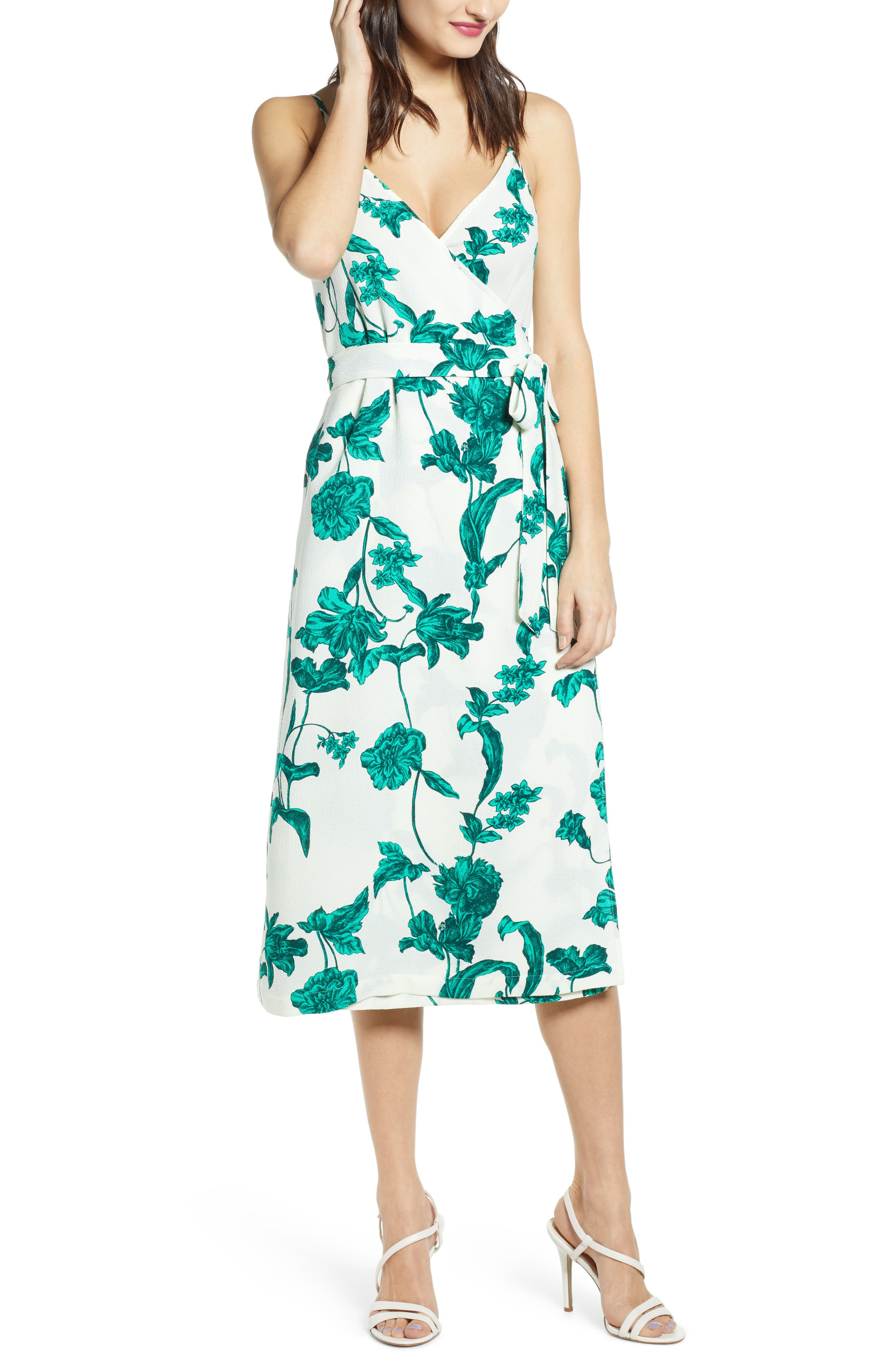 Chelsea28 Crepe Wrap Midi Dress, Ivory