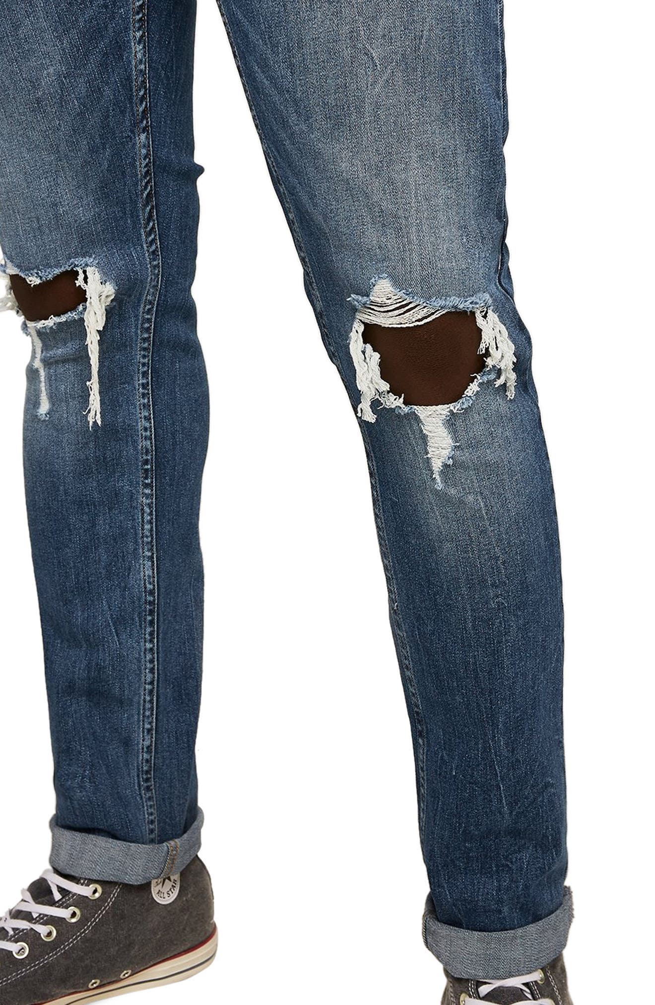 TOPMAN, Polly Ripped Stretch Skinny Jeans, Alternate thumbnail 4, color, BLUE