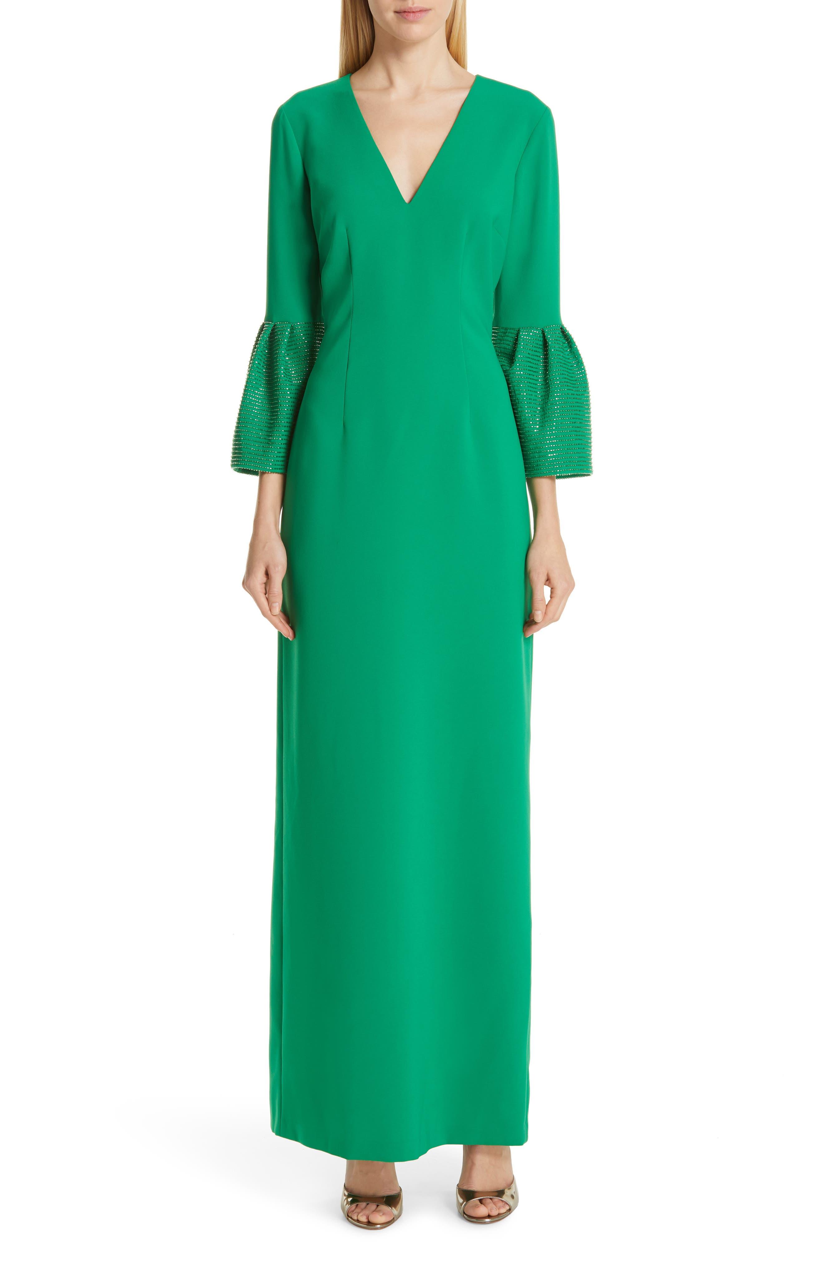 SACHIN & BABI, Tower Beaded Cuff Column Evening Dress, Main thumbnail 1, color, TOWER GREEN