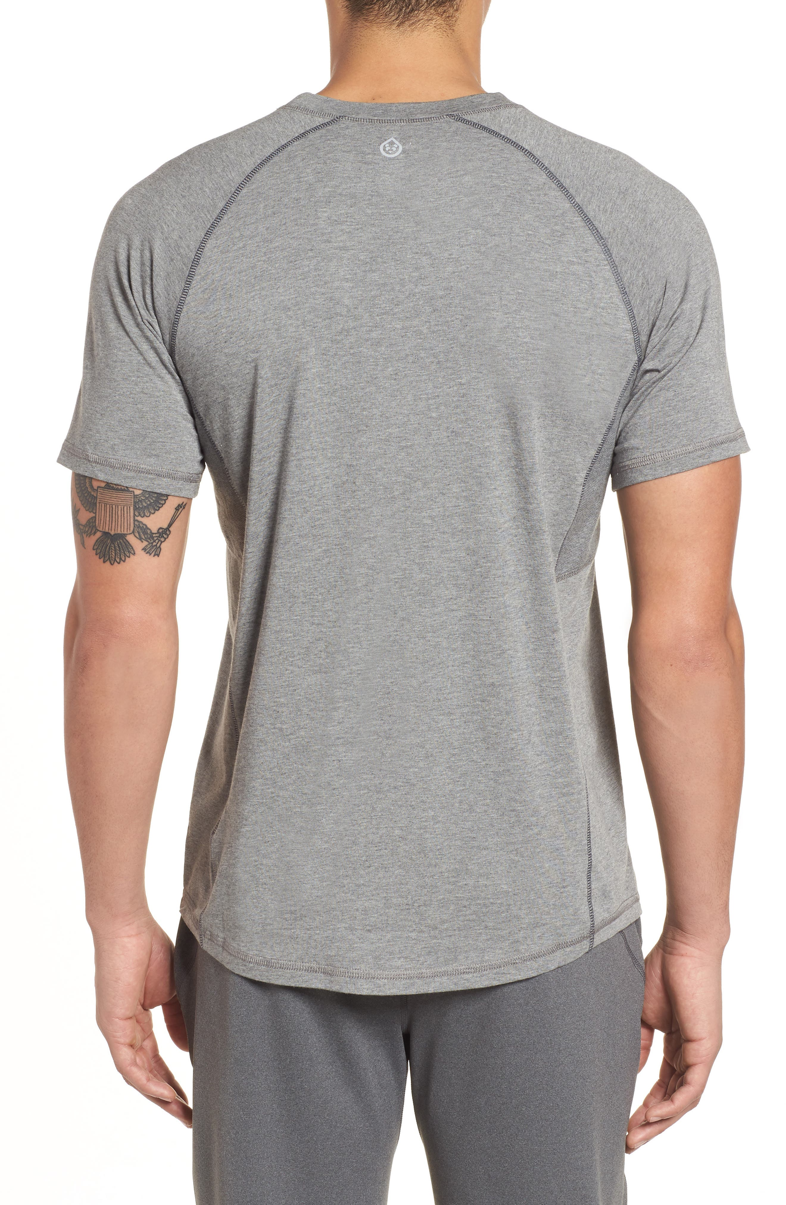 TASC PERFORMANCE, Charge II T-Shirt, Alternate thumbnail 2, color, HEATHER GREY