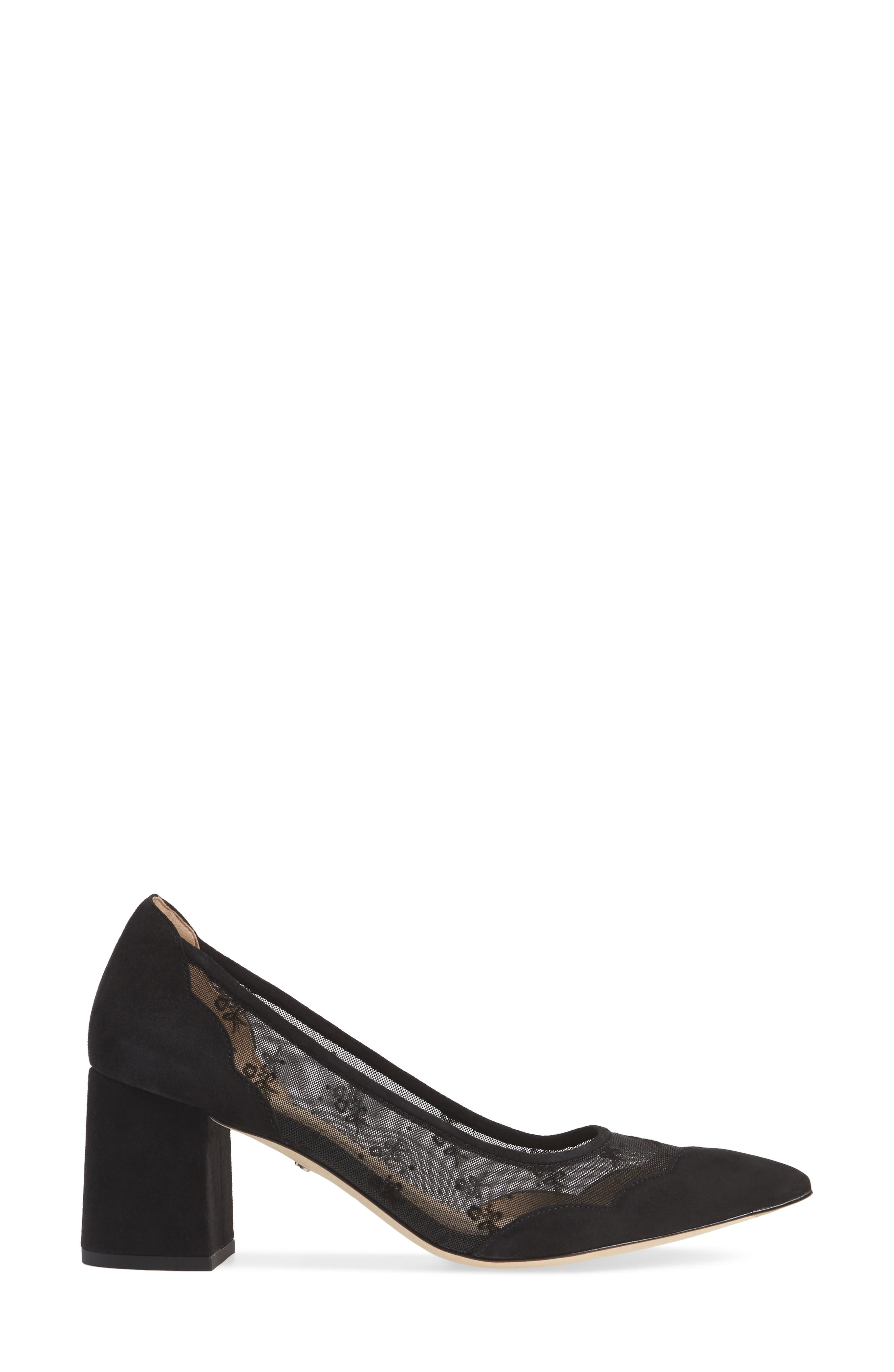 COACH, Whitley Scallop Pointy Toe Pump, Alternate thumbnail 3, color, BLACK SUEDE