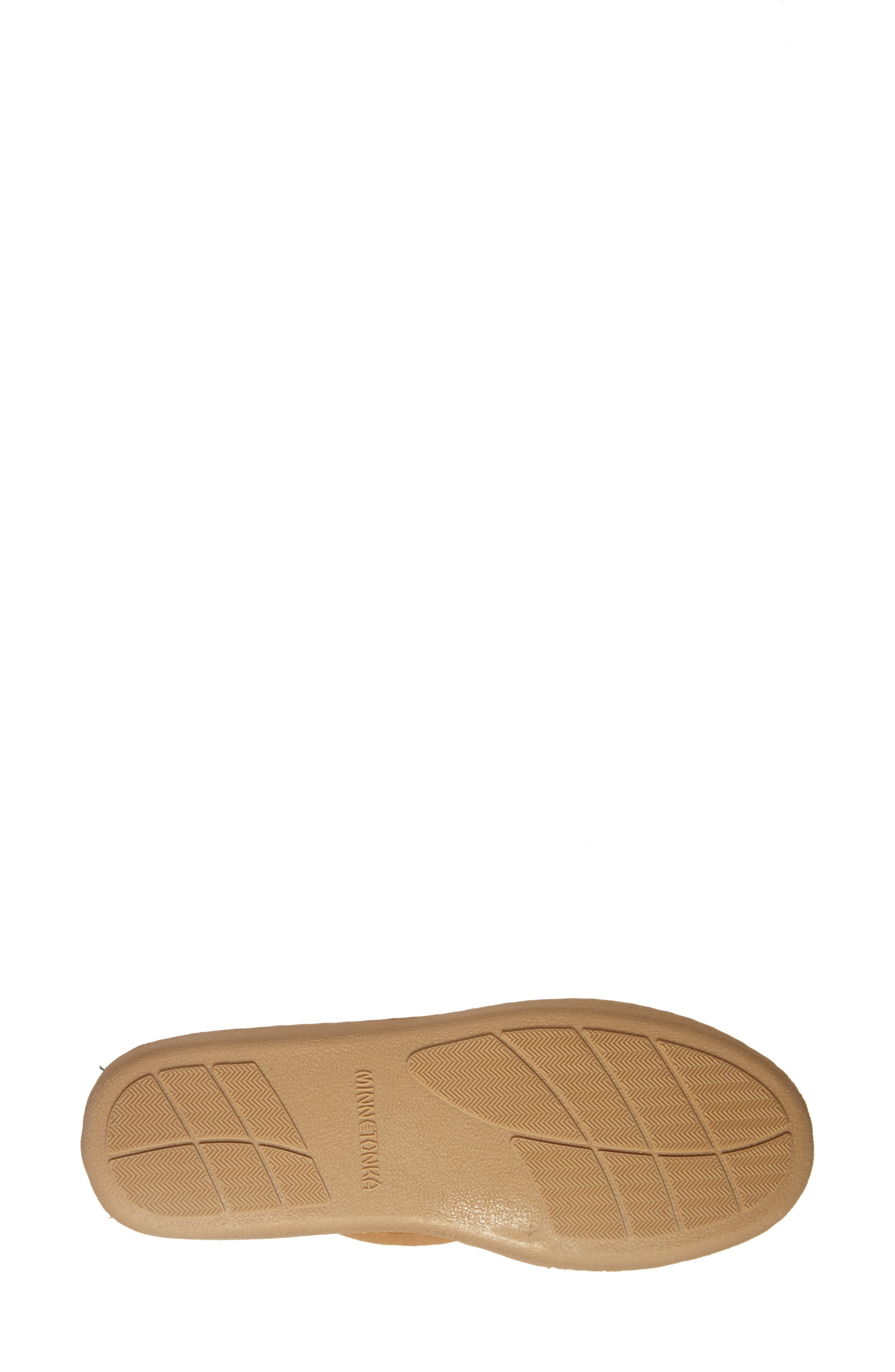 MINNETONKA, Sheepskin Hard Sole Moccasin Slipper, Alternate thumbnail 5, color, TAN SUEDE