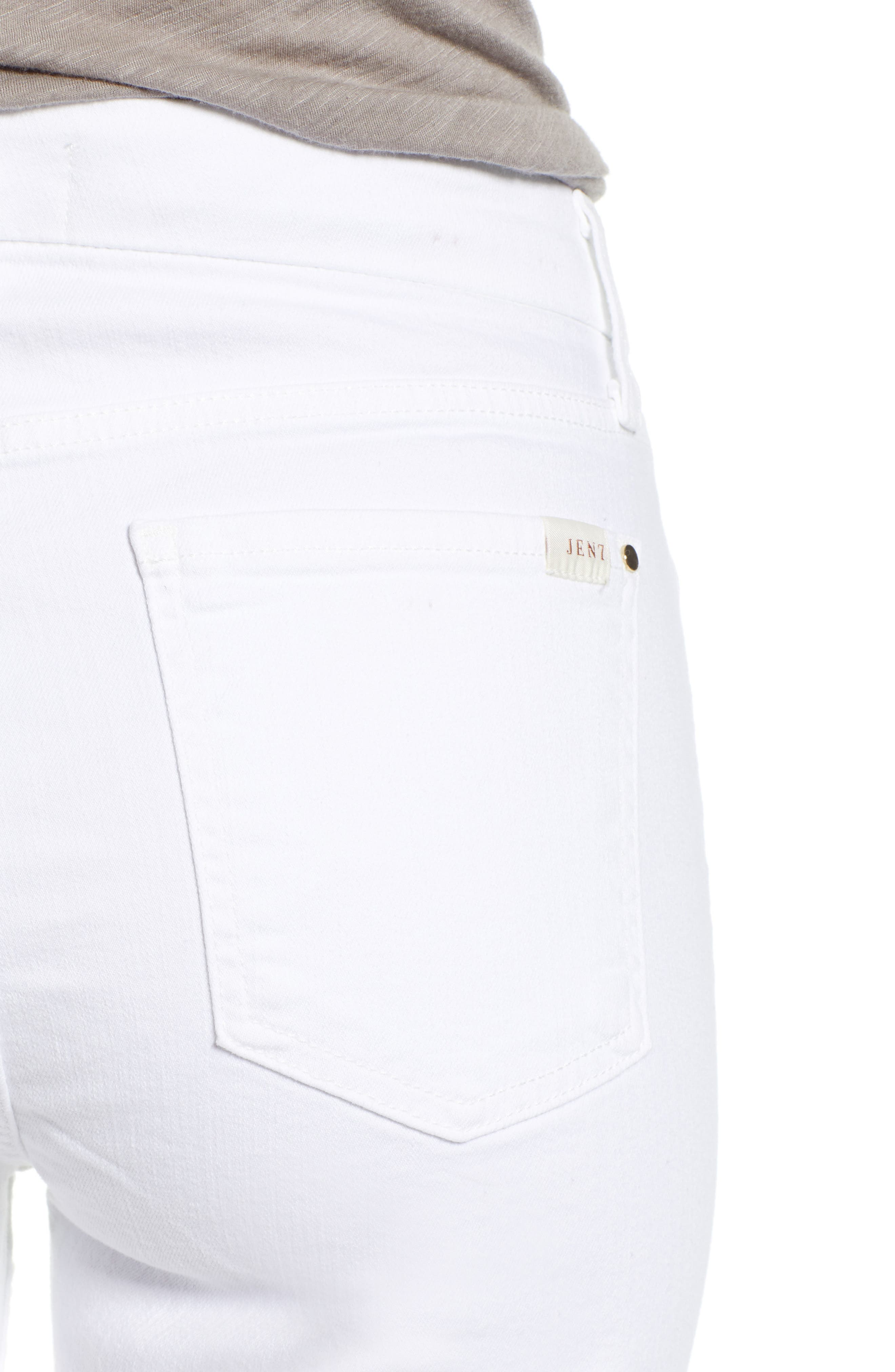 JEN7 BY 7 FOR ALL MANKIND, Stretch Skinny Jeans, Alternate thumbnail 5, color, WHITE