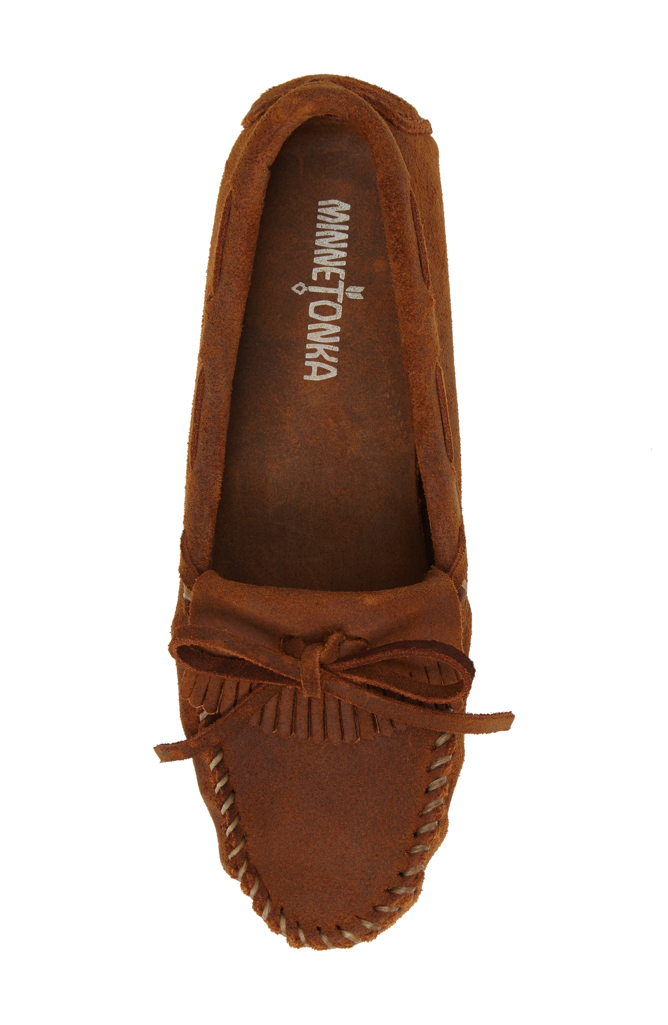 MINNETONKA, Kilty Driving Moccasin, Alternate thumbnail 5, color, BROWN RUFF