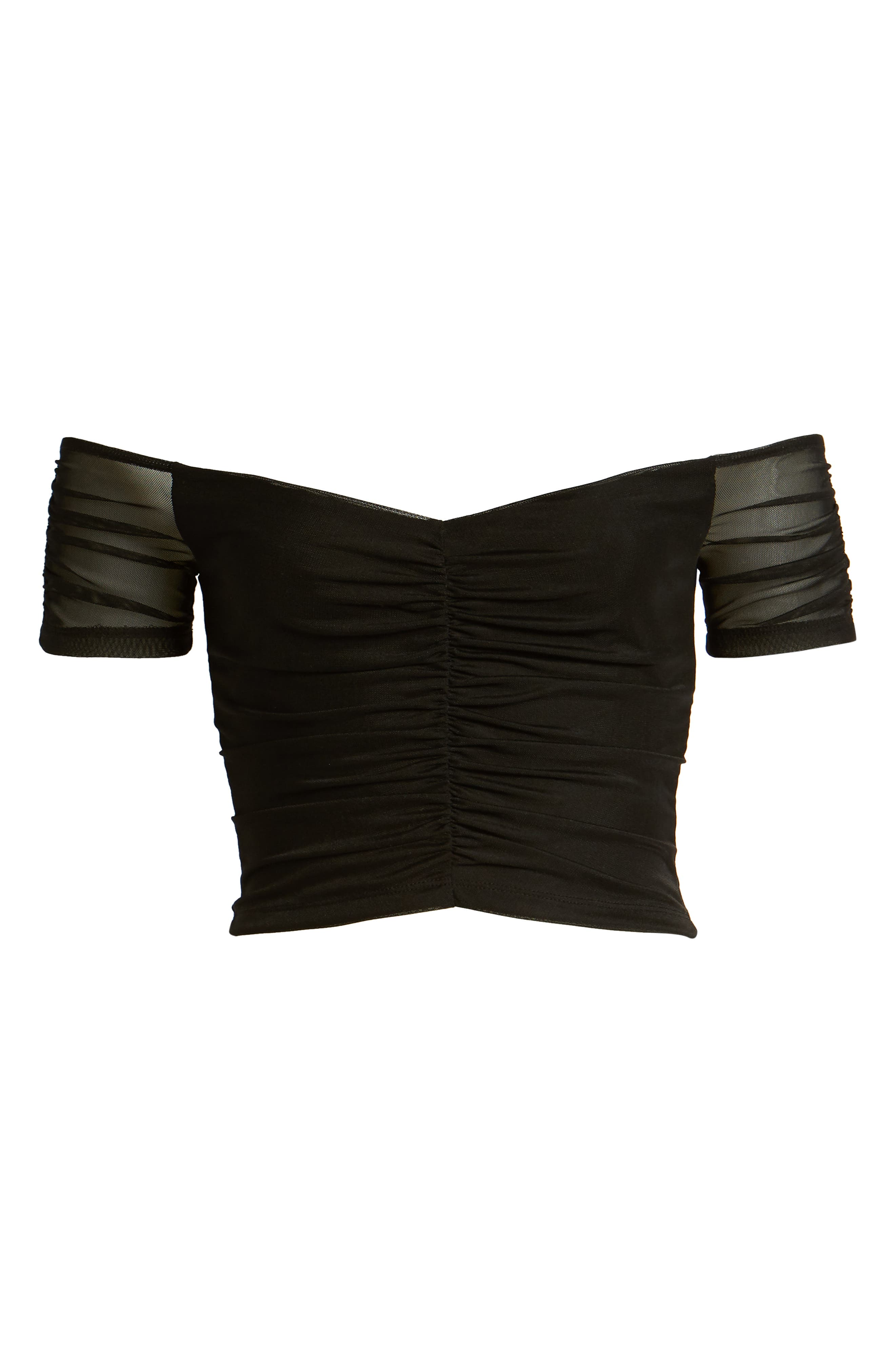 LEITH, Off the Shoulder Crop Top, Alternate thumbnail 6, color, BLACK