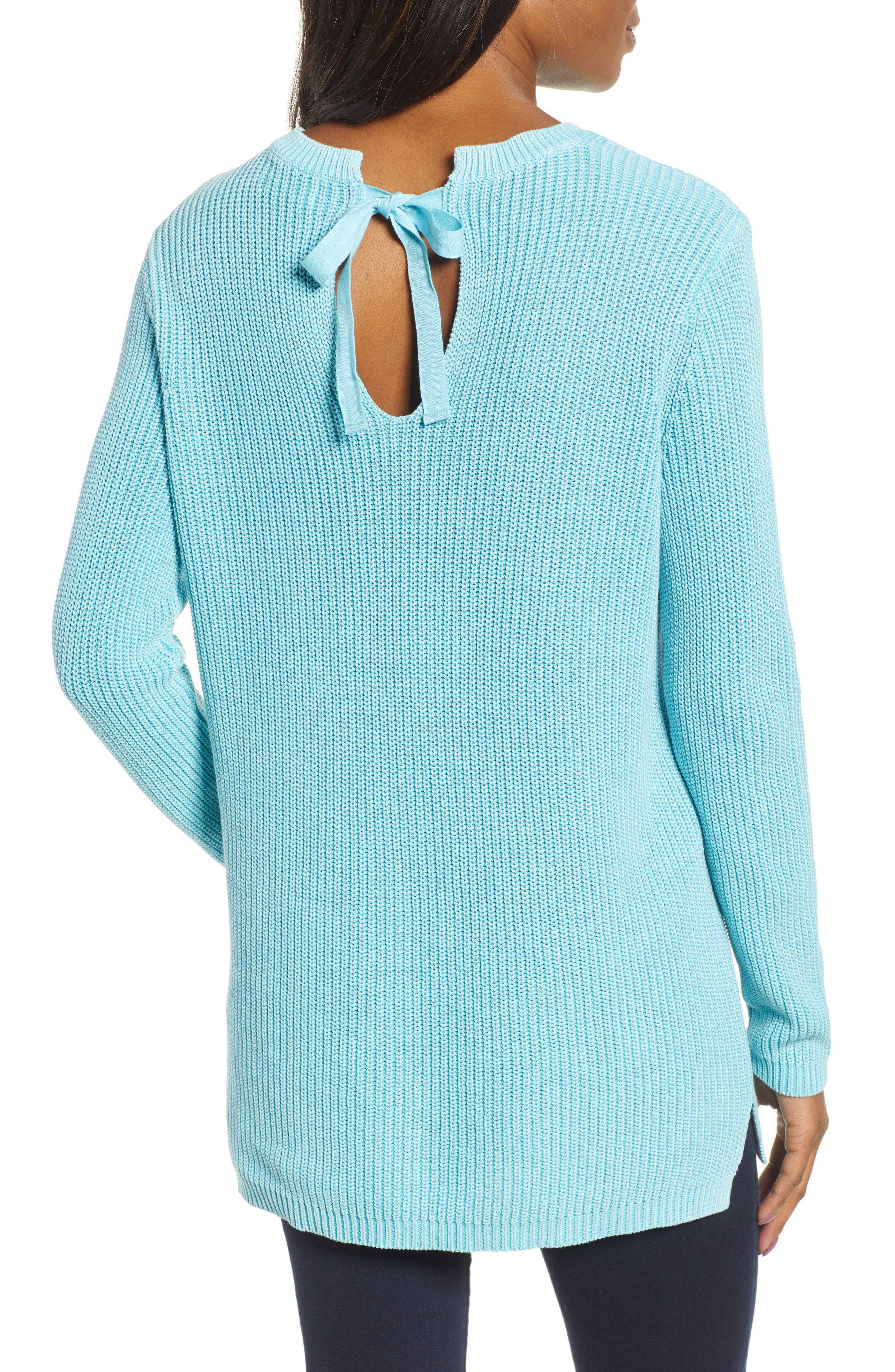 CASLON<SUP>®</SUP>, Tie Back Tunic Sweater, Alternate thumbnail 2, color, BLUE MAUI
