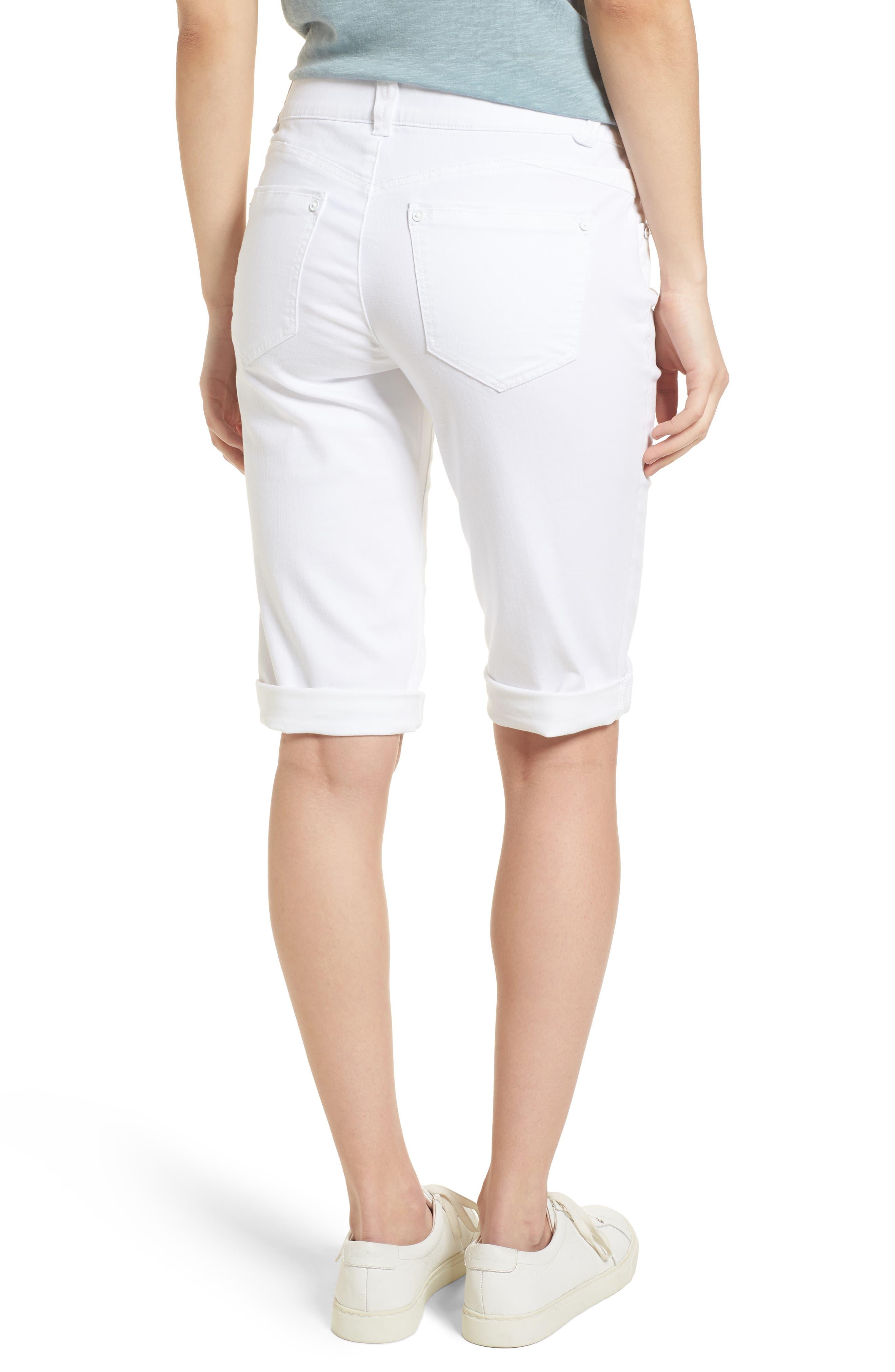 WIT & WISDOM, Ab-solution White Bermuda Shorts, Alternate thumbnail 2, color, OPTIC WHITE