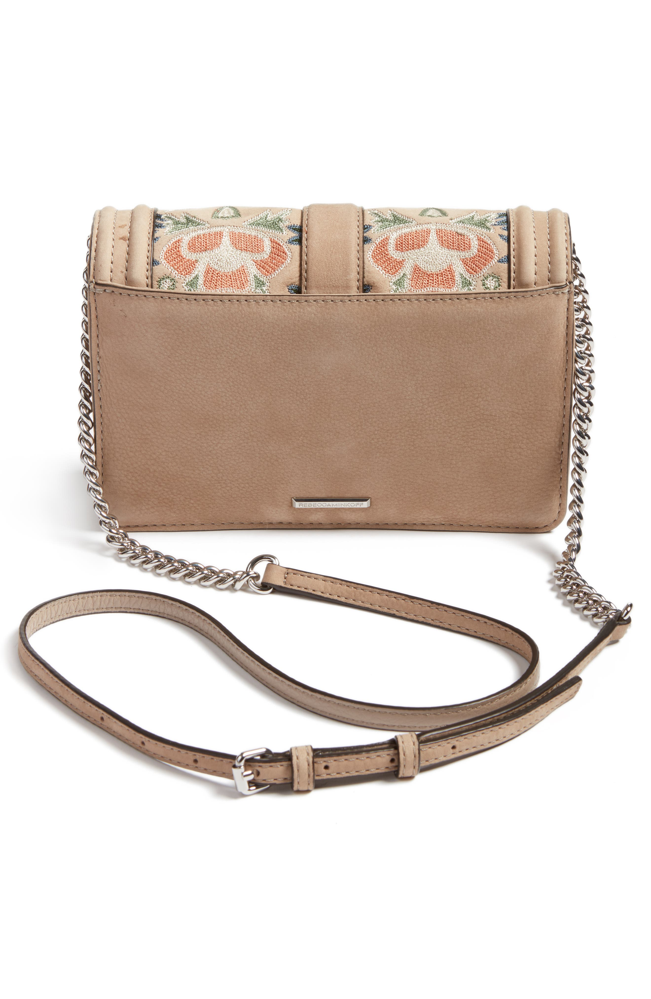 REBECCA MINKOFF, Small Love Embroidered Nubuck Crossbody Bag, Alternate thumbnail 3, color, 250