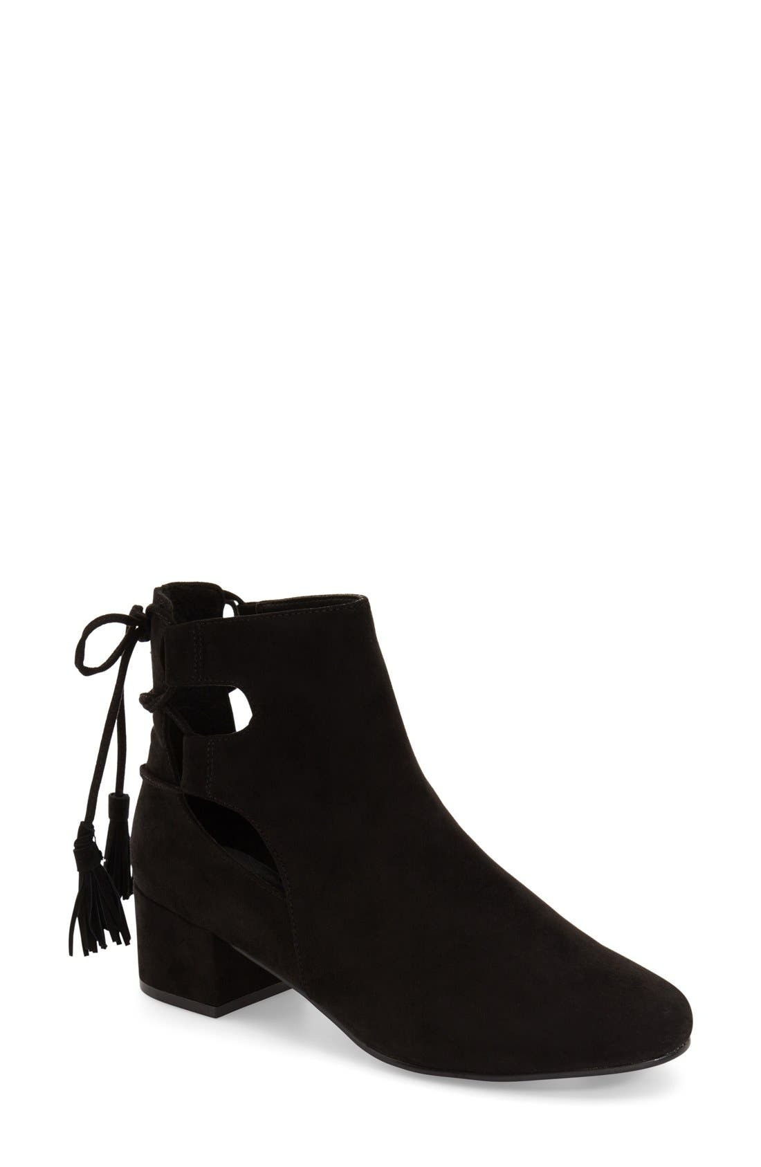 TOPSHOP, 'Kimble' Lace-Up Suede Boot, Main thumbnail 1, color, 001