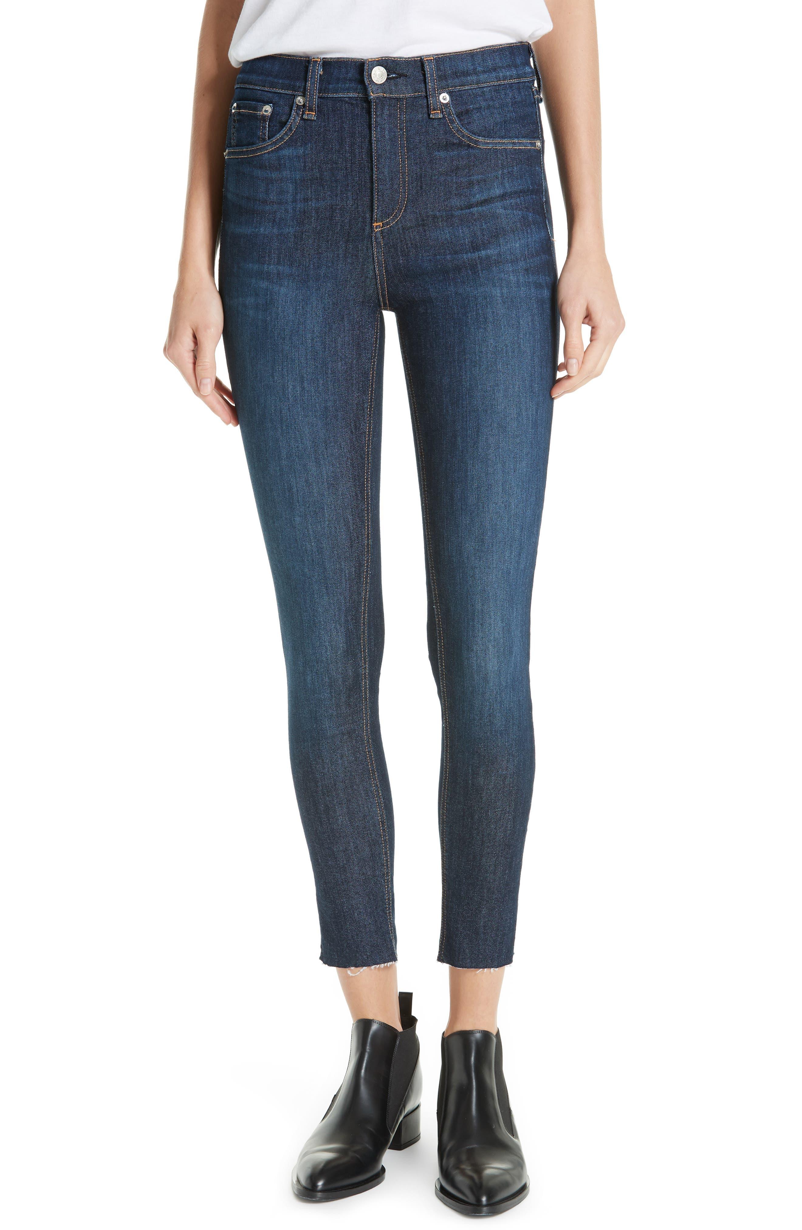 RAG & BONE, High Waist Skinny Ankle Jeans, Main thumbnail 1, color, 402