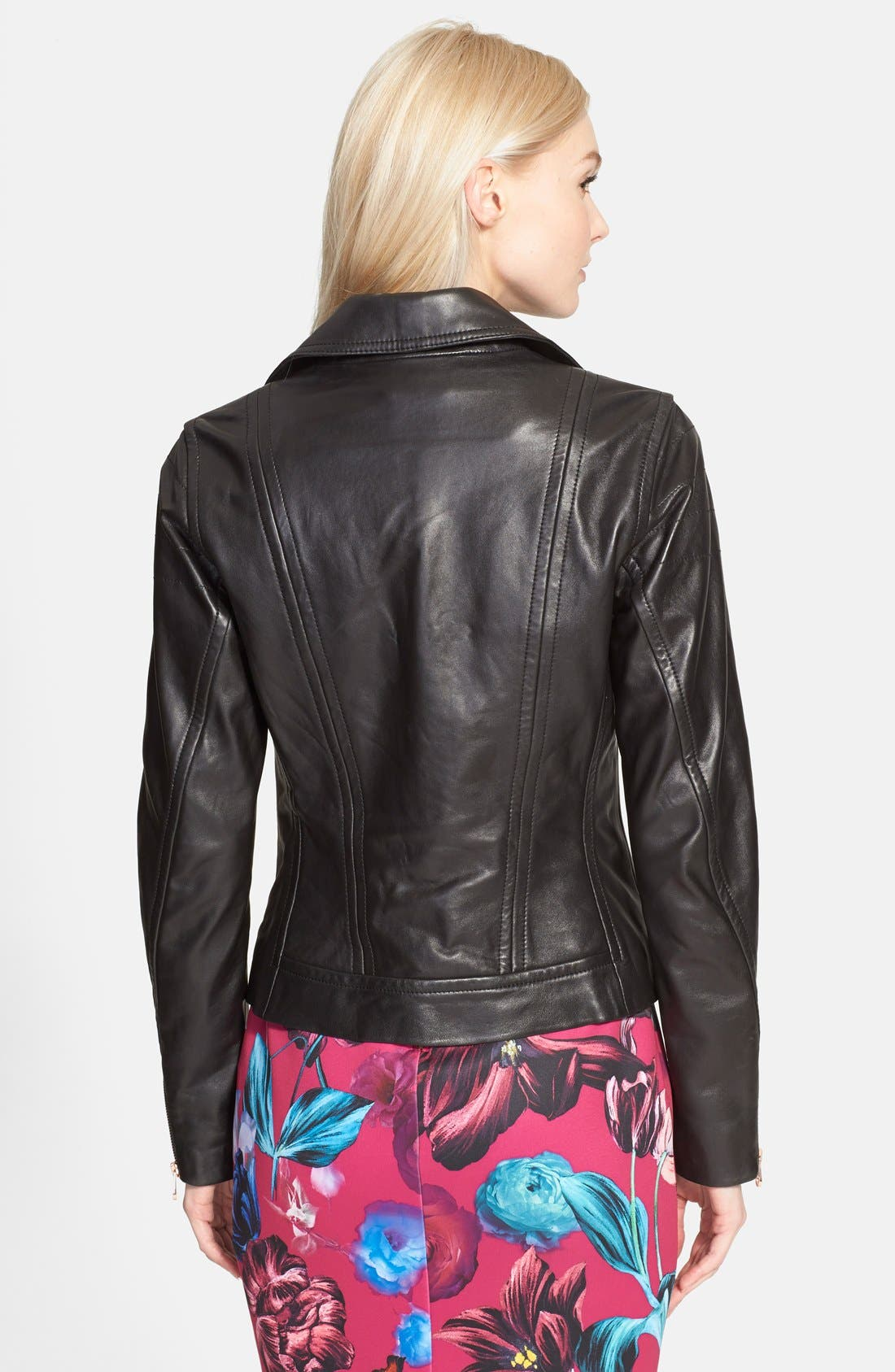 TED BAKER LONDON, 'Riza' Leather Moto Jacket, Alternate thumbnail 4, color, 001
