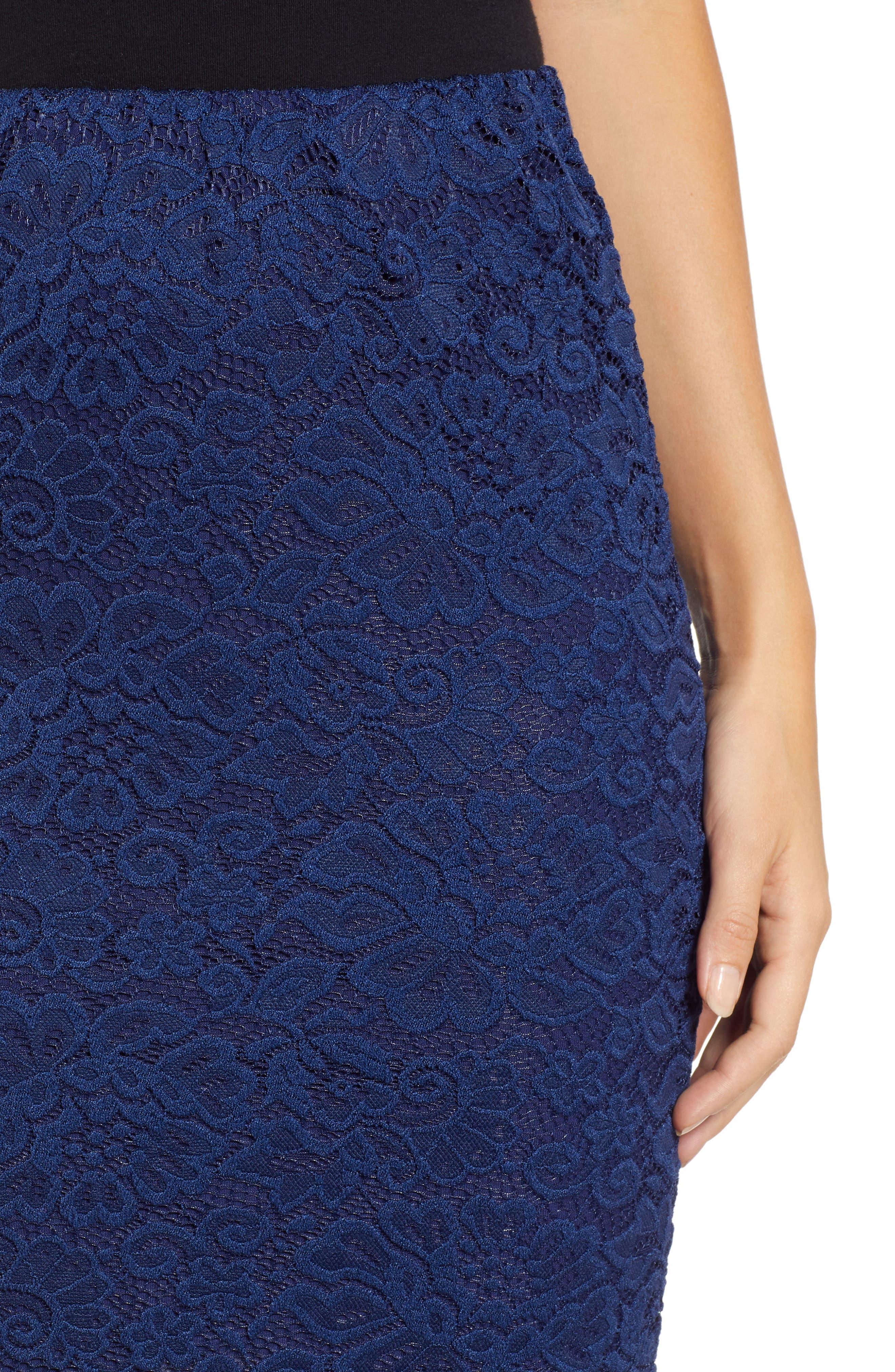 ROSEMUNDE, Filippa Scalloped Lace Skirt, Alternate thumbnail 4, color, NAVY PEONY