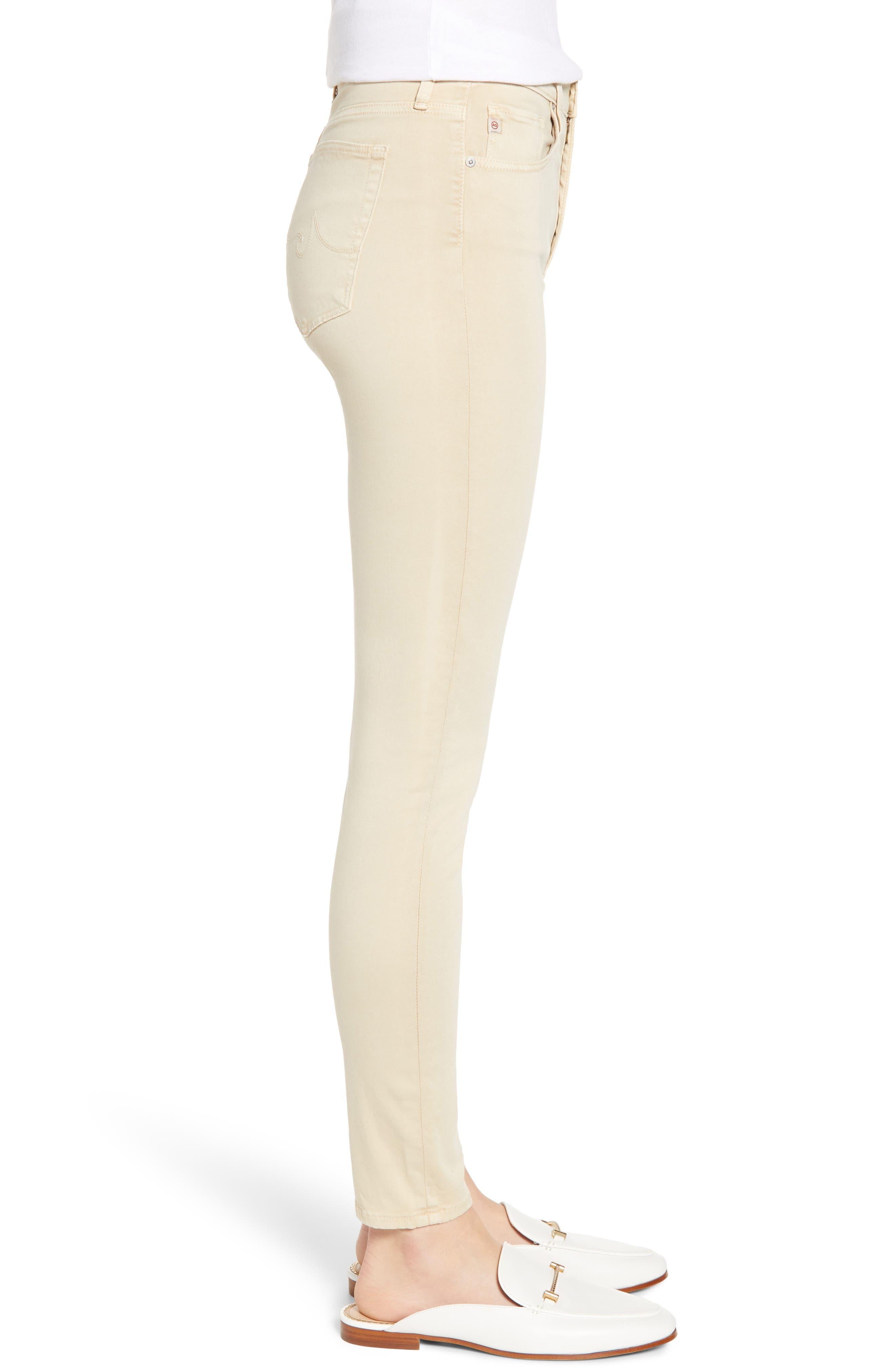 AG, Farrah High Waist Ankle Skinny Jeans, Alternate thumbnail 4, color, SULFUR FRESH SAND