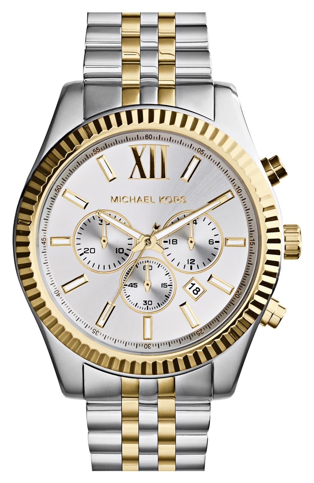 MICHAEL KORS, Large Lexington Chronograph Bracelet Watch, 45mm, Main thumbnail 1, color, SILVER/ GOLD