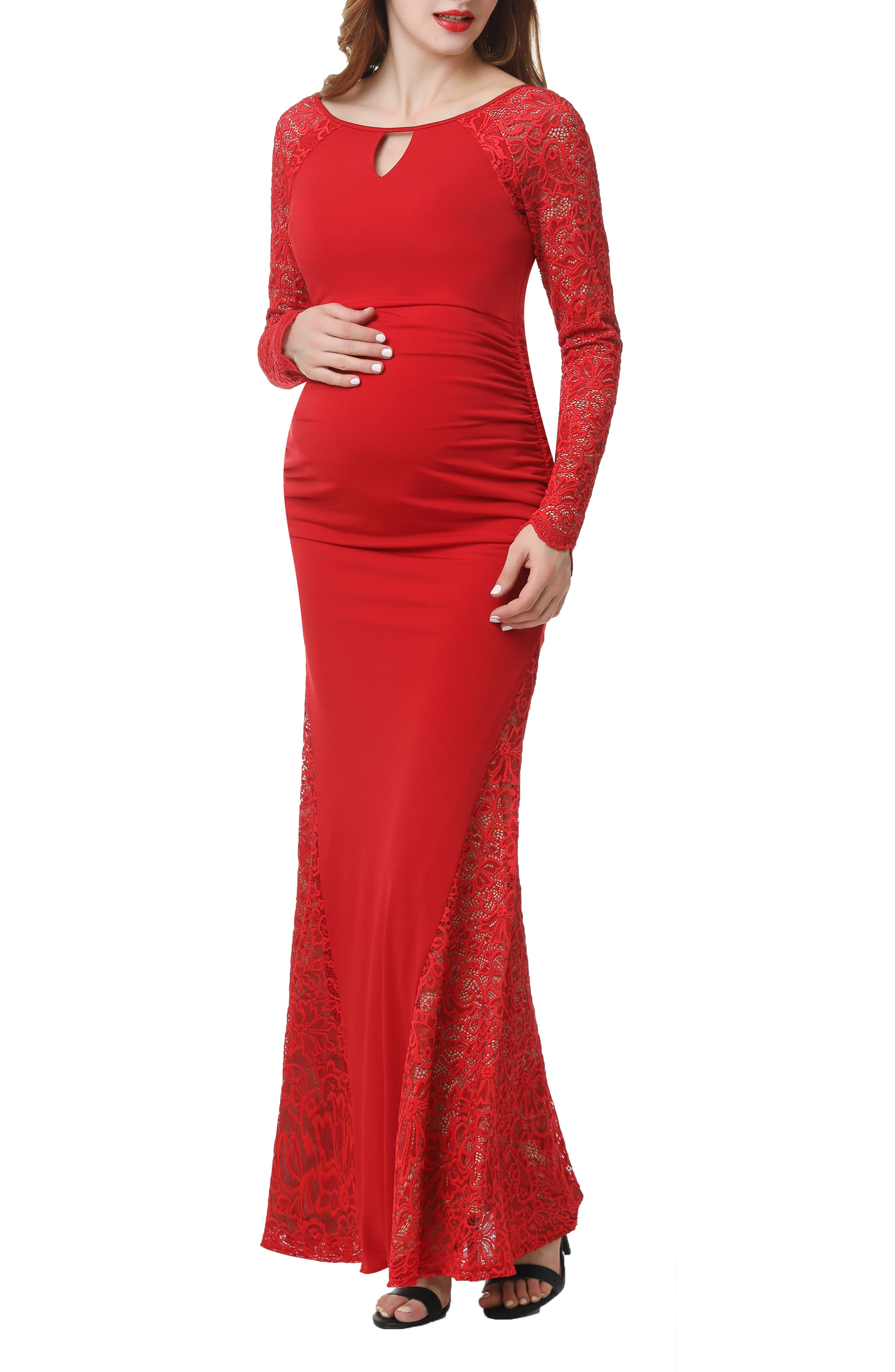 Kimi And Kai Bella Maternity Maxi Dress, Red