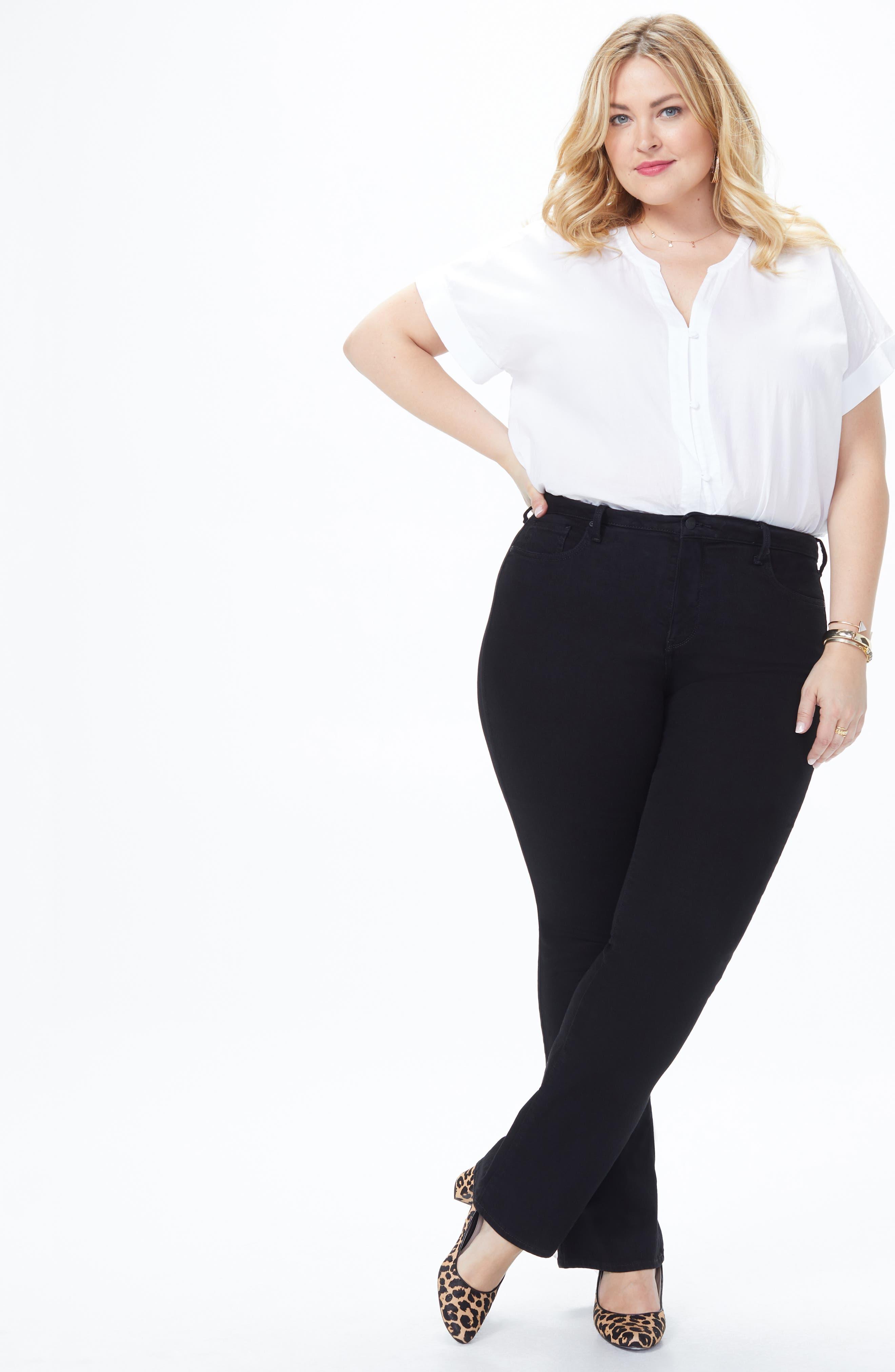 NYDJ, Barbara High Rise Bootcut Jeans, Alternate thumbnail 7, color, BLACK